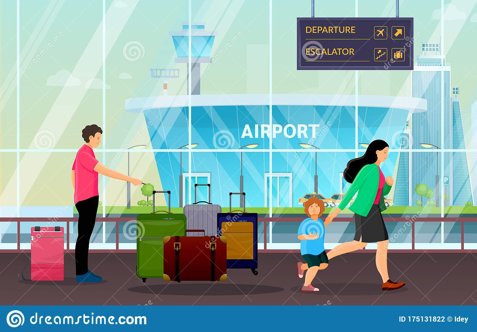 Passenger Group People Together Waiting In Airport Terminal Stock Vector Illustration Of Departure Station 175131822