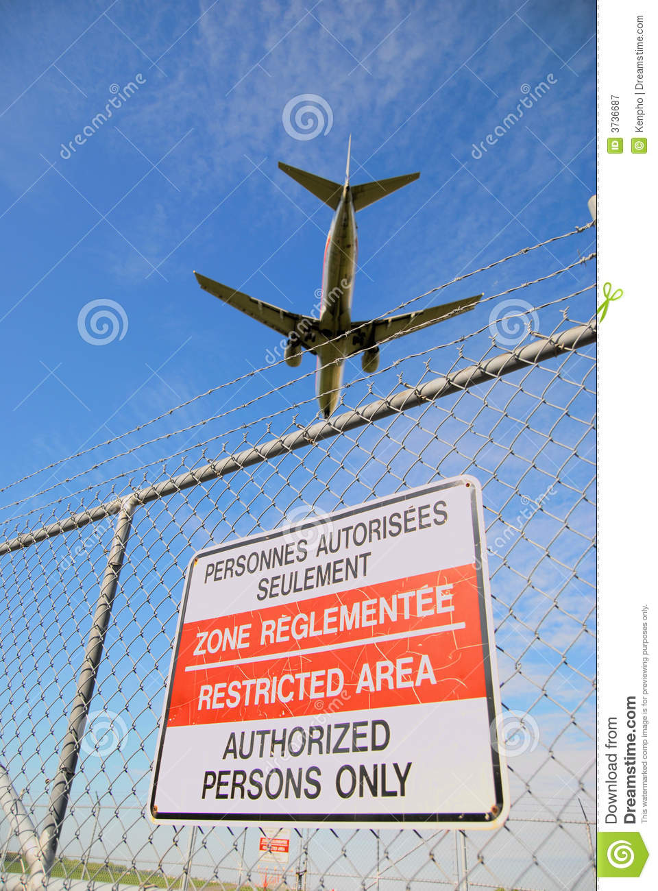 Passenger Jet And Airport Perimeter Fence Stock Image ...