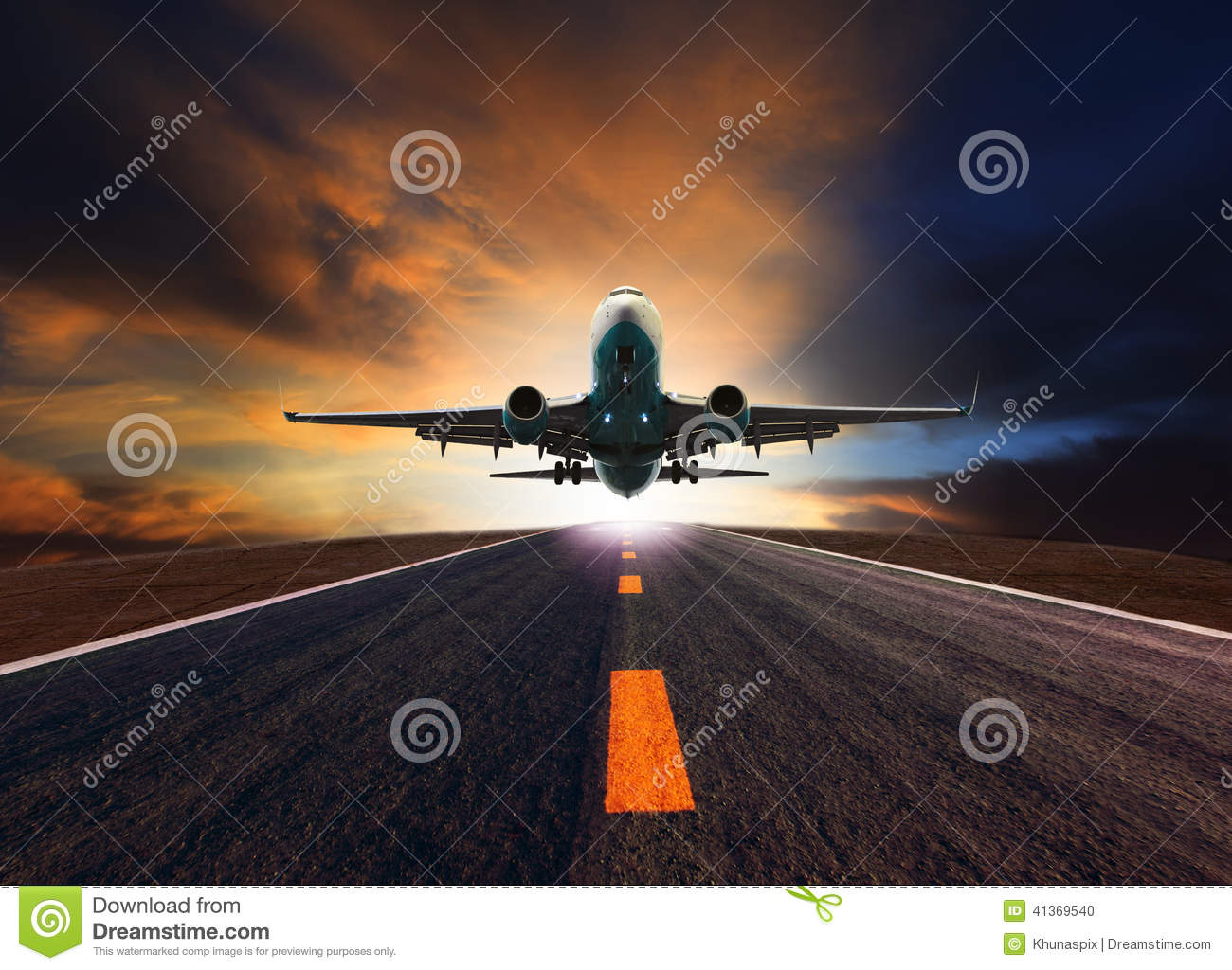 Download Passenger Jet Plane Flying Over Airport Runway Against Beautiful Stock Photo - Image of business, dusky: 41369540