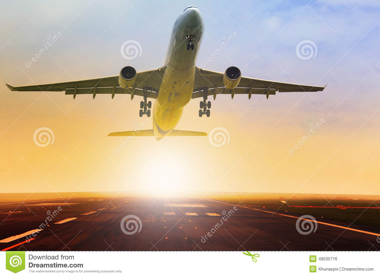 Passenger jet plane take off fron airport runway with beautiful
