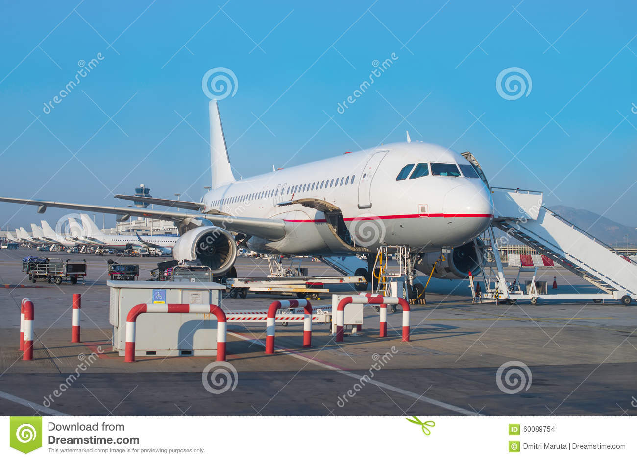 Download Passenger Plane In The Airport. Stock Photo - Image of airline, airfield: 60089754