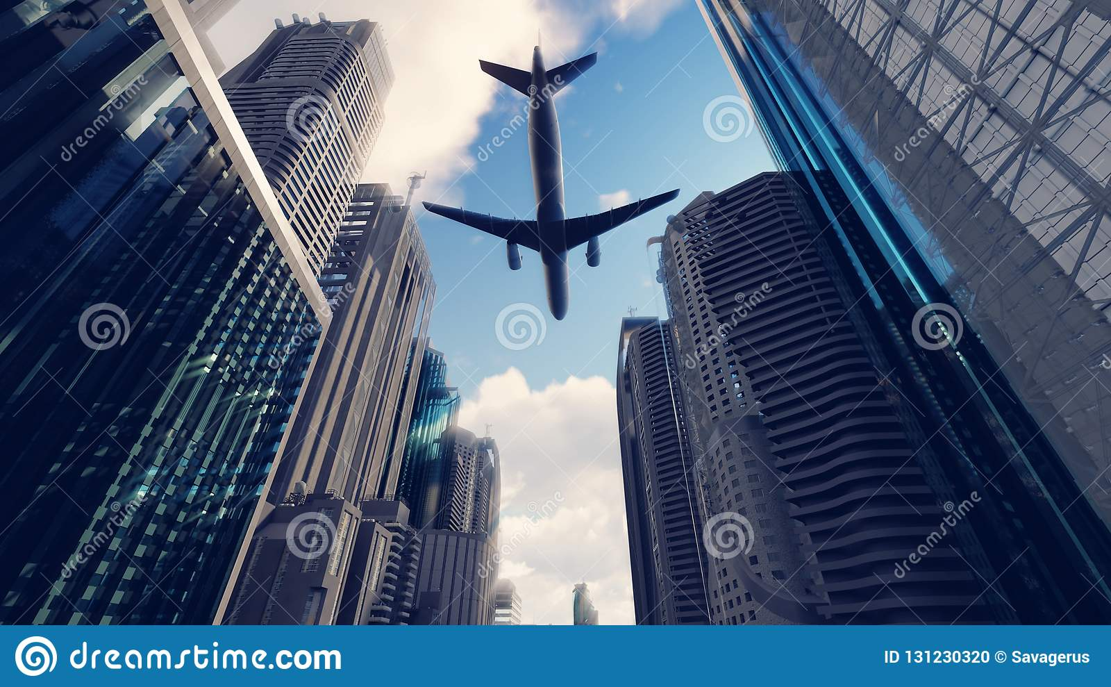 A passenger plane flies over a modern megapolis at sunrise. 3D Rendering