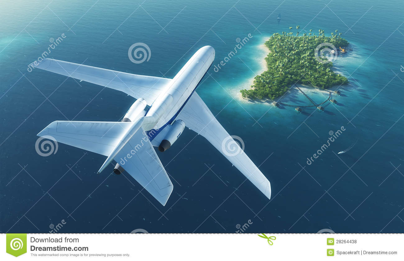 Tropical Island Beach Ambience Sound: Passenger Plane Flies Over Paradise Tropical Island