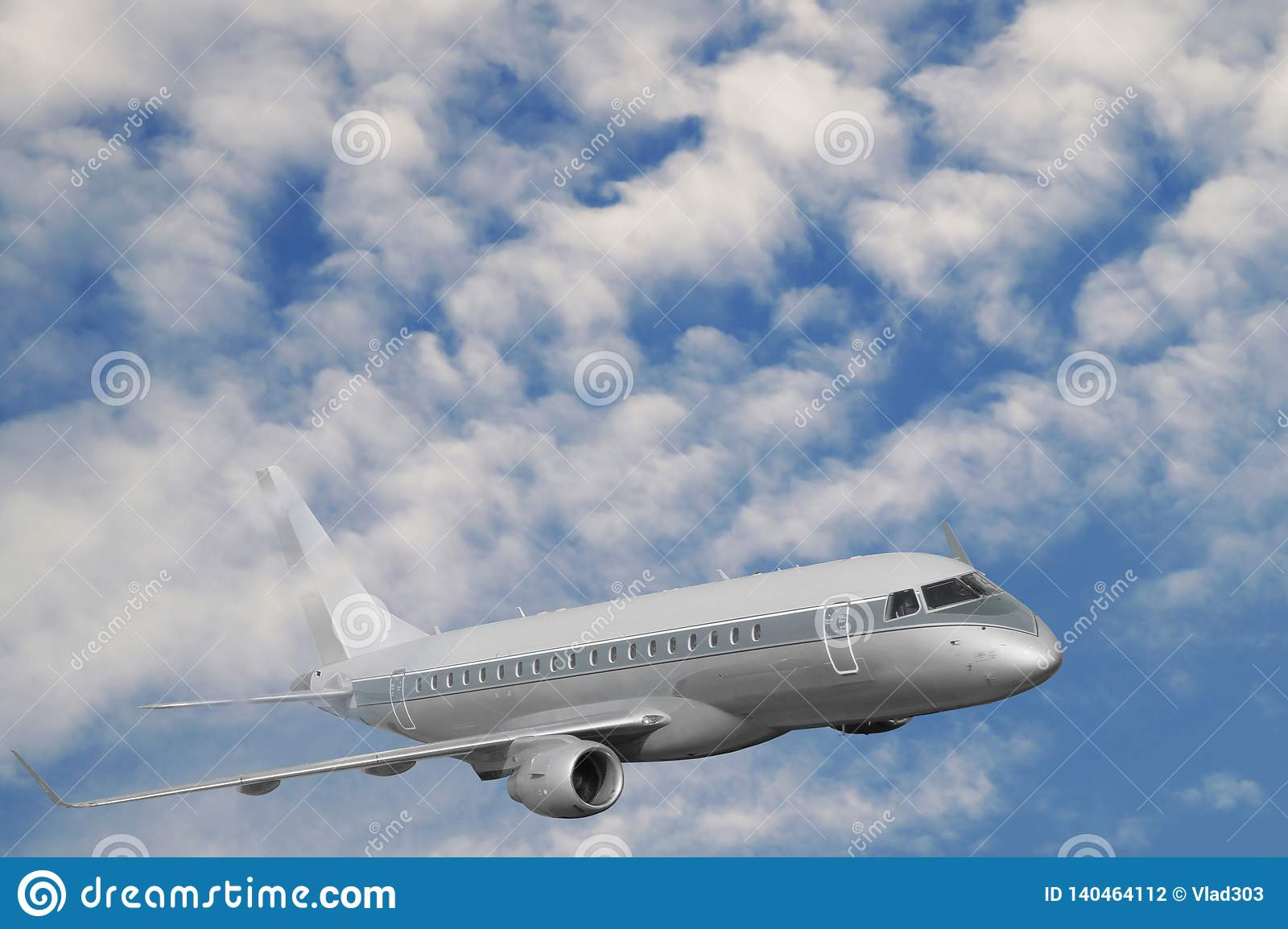 Travel by plane. The passenger plane during the flight rises above the clouds level
