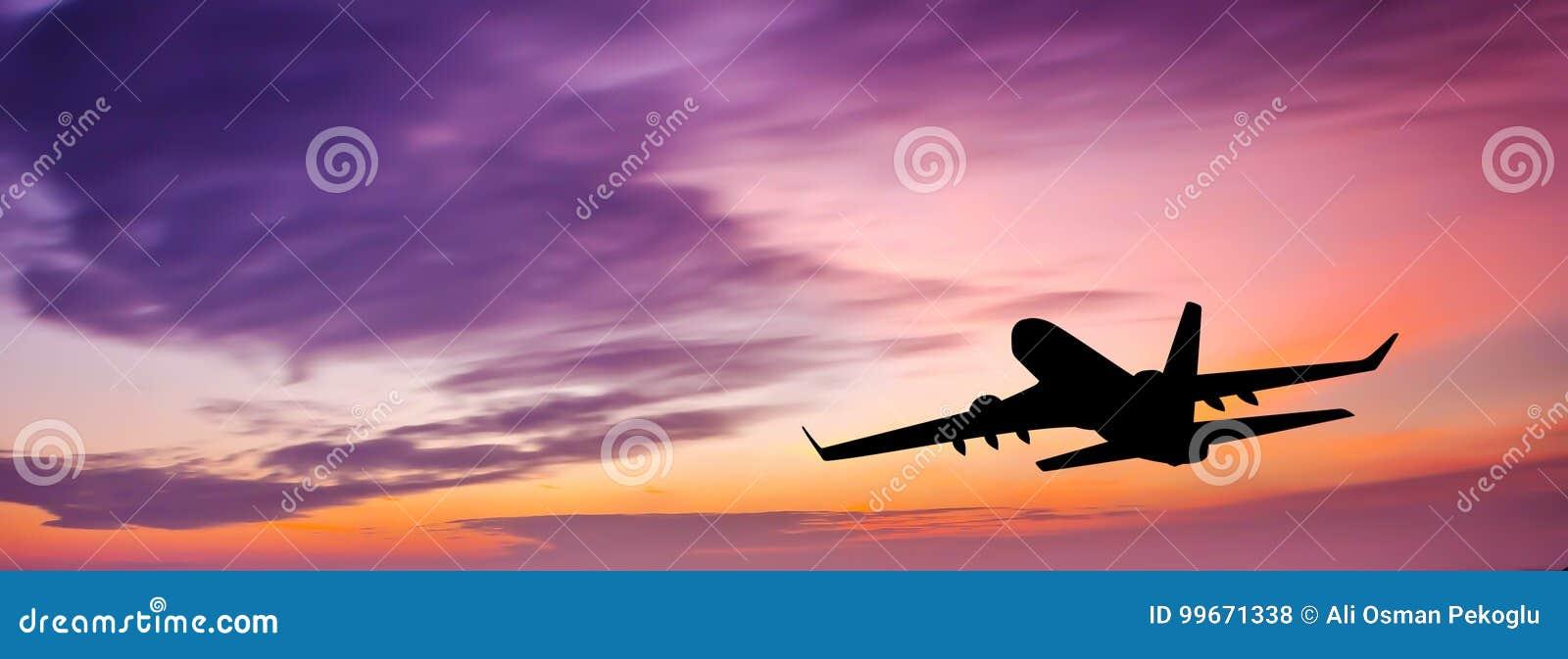 Download Passenger plane at sunset stock photo. Image of aircraft - 99671338