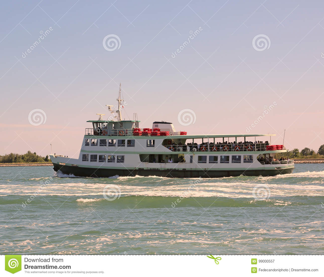 Passenger Ship For The Transport Of Tourists Called Vaporetto In