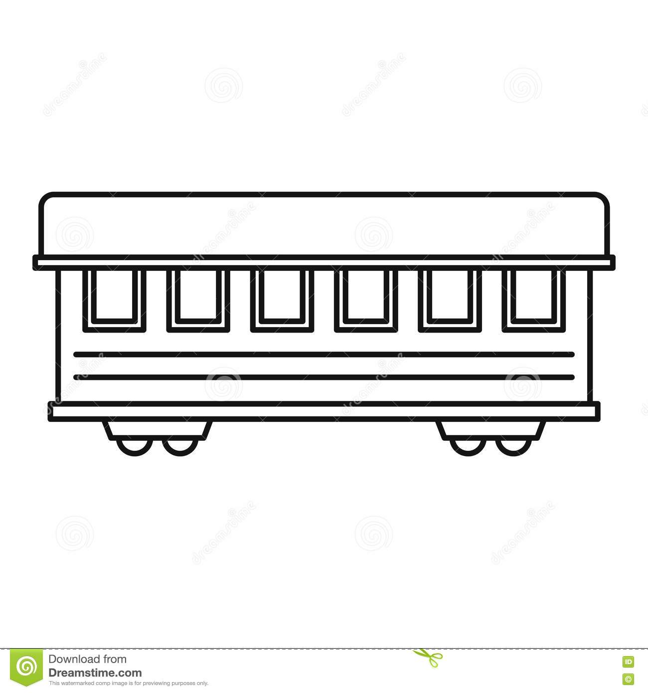 passenger train car icon outline style stock vector image 80958322