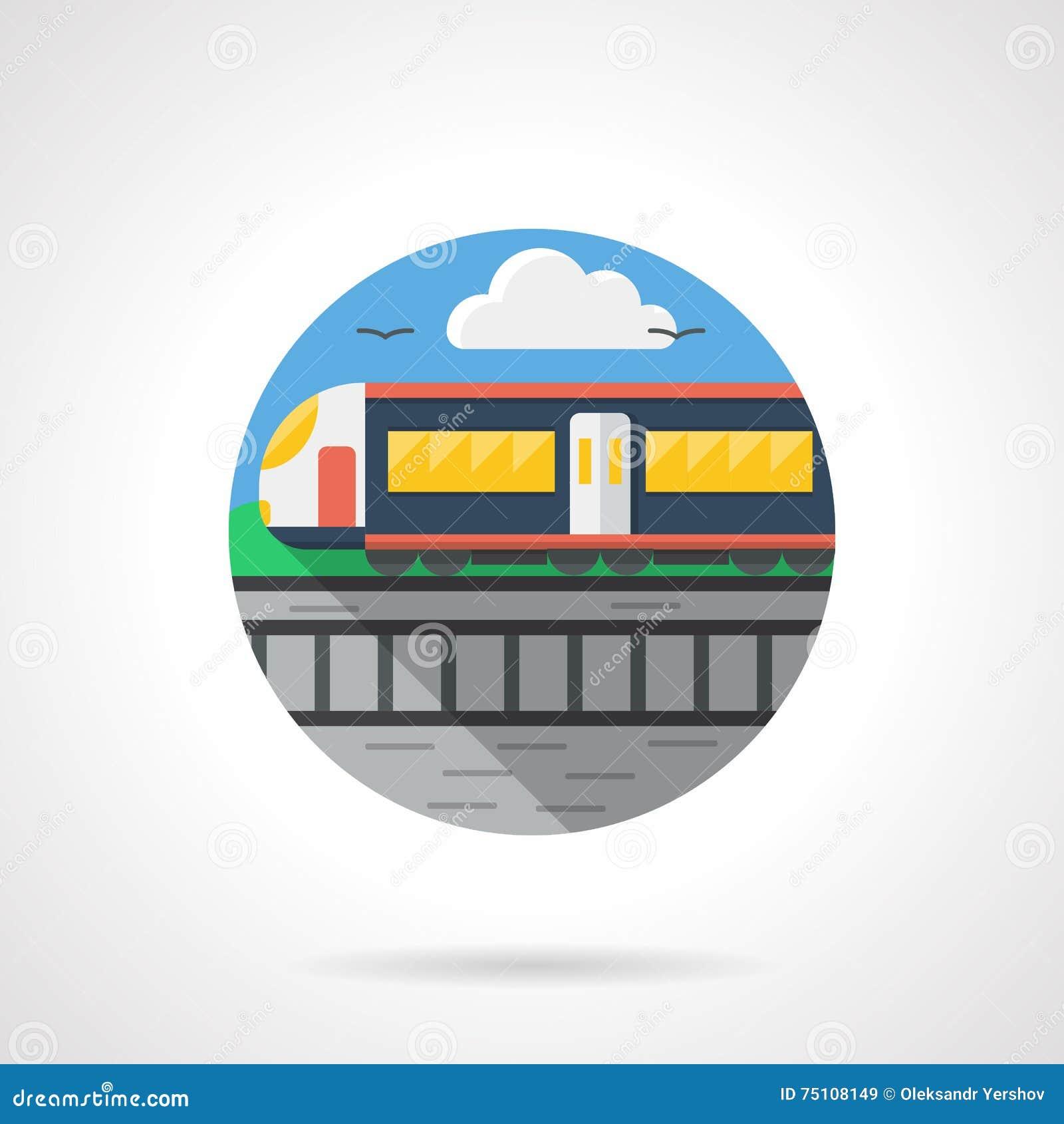 Passenger Train Color Detailed Icon Stock Illustration