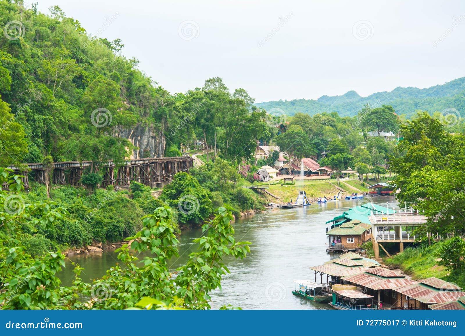 Passenger trains Tham Kasae bridge Death Railway on the River Kwai Kanchanaburi, Thailand