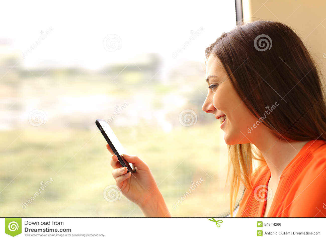 Download Passenger Using A Mobile Phone In A Train Stock Photo - Image of mobile, lady: 54844266