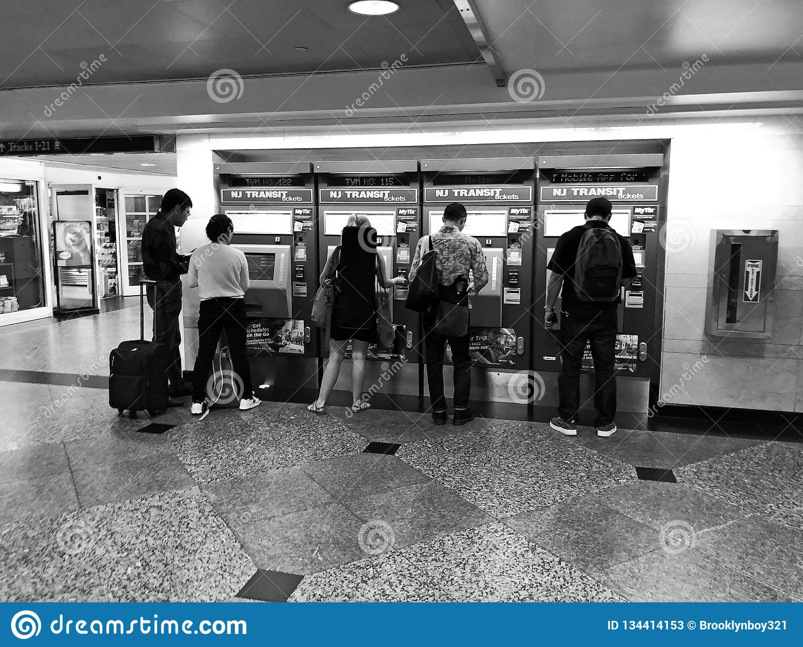 New Jersey Transit Ticket Buying Machines Editorial Stock