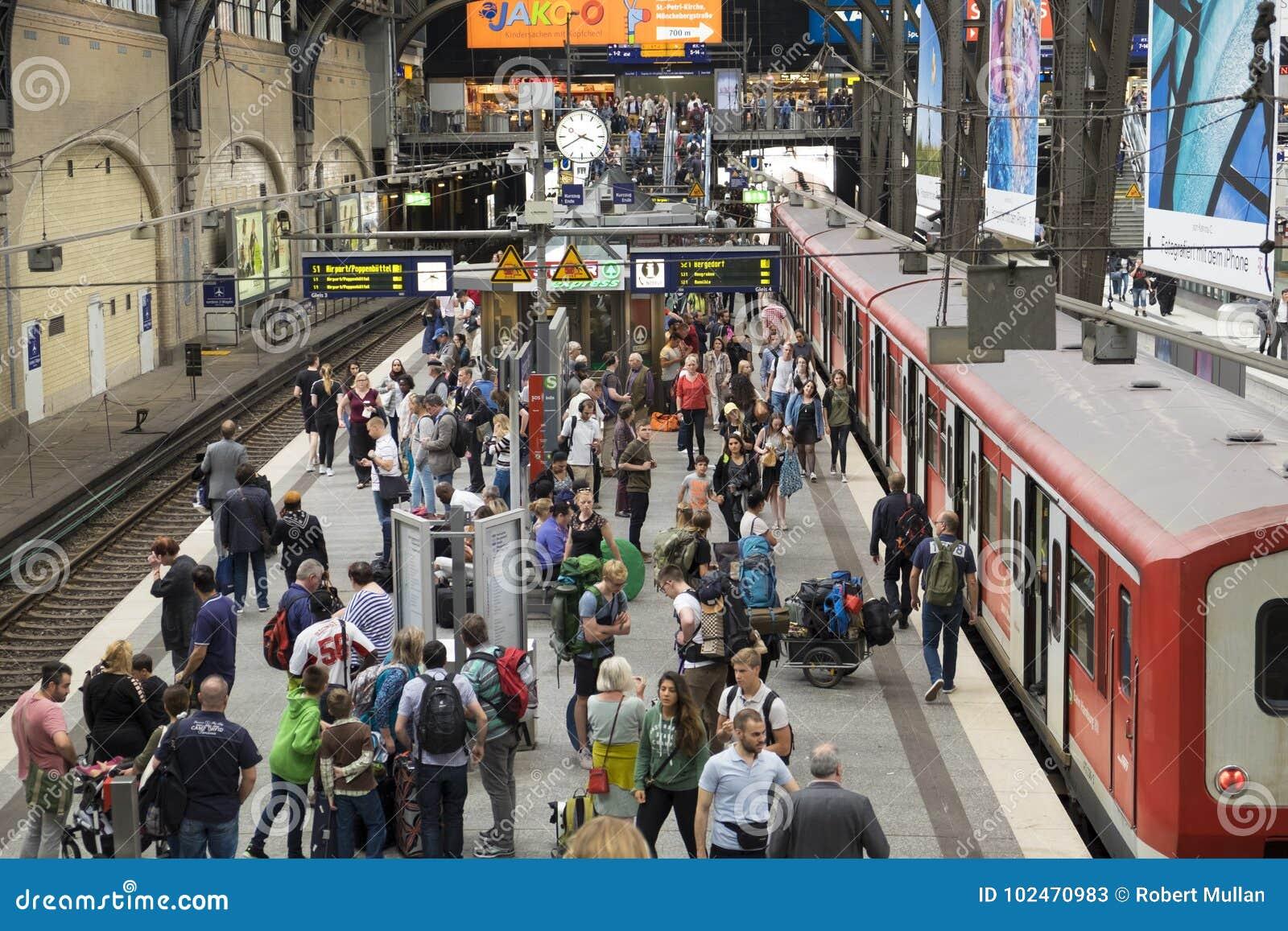 Passengers at Hamburg`s Main Railway Station