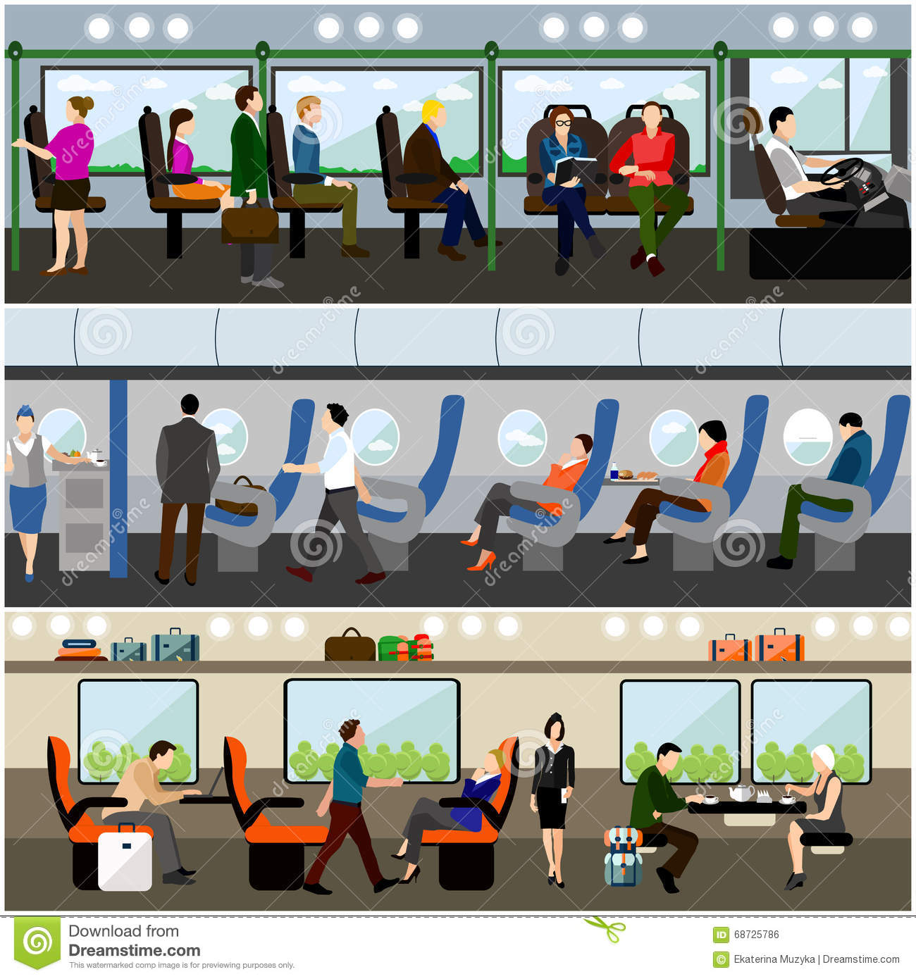 Passengers public transport concept vector banners set. People in bus, train and airplane. Transport interior
