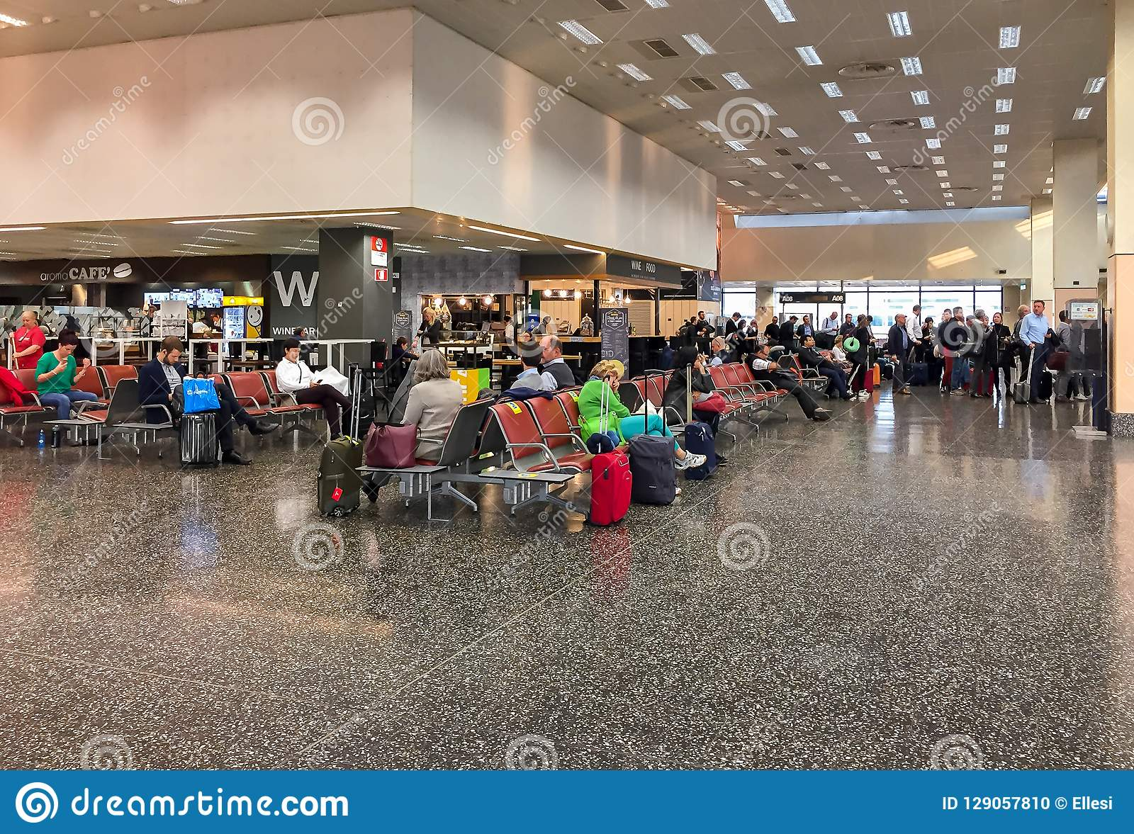 Passengers In The Waiting Room Before Departure In The Milan Malpensa Airport Terminal 1 Editorial Image Image Of Tourism Italy 129057810