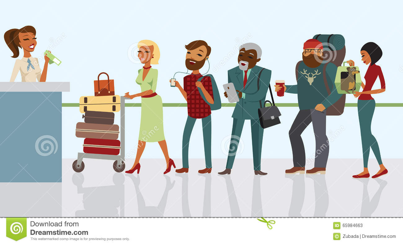 Passengers Waiting To Check In At Airport Stock Vector