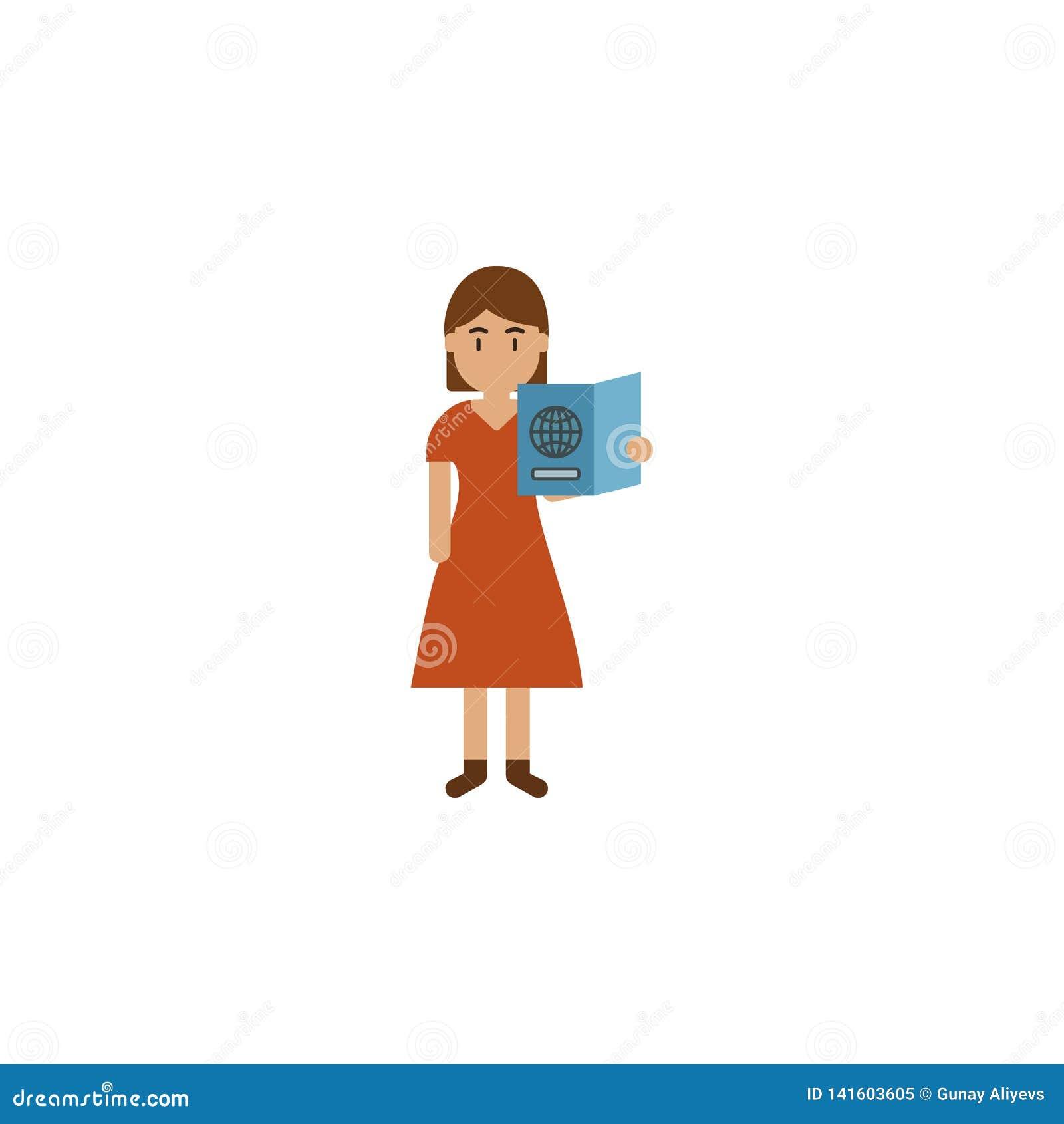 Passeport, icône de bande dessinée de femme Élément d icône de voyage de couleur Icône de la meilleure qualité de conception grap