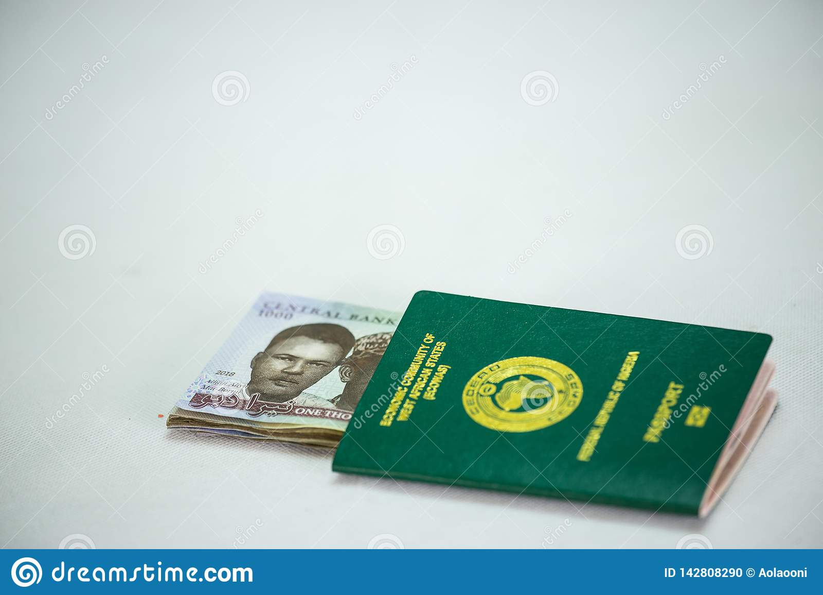 Passeport international avec des notes de Naira