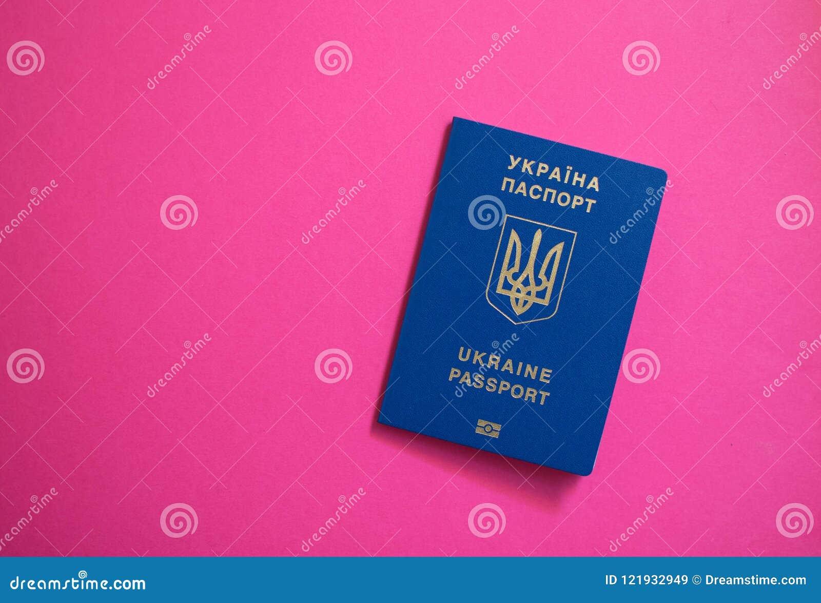 Passeport sur dessus du fond rose