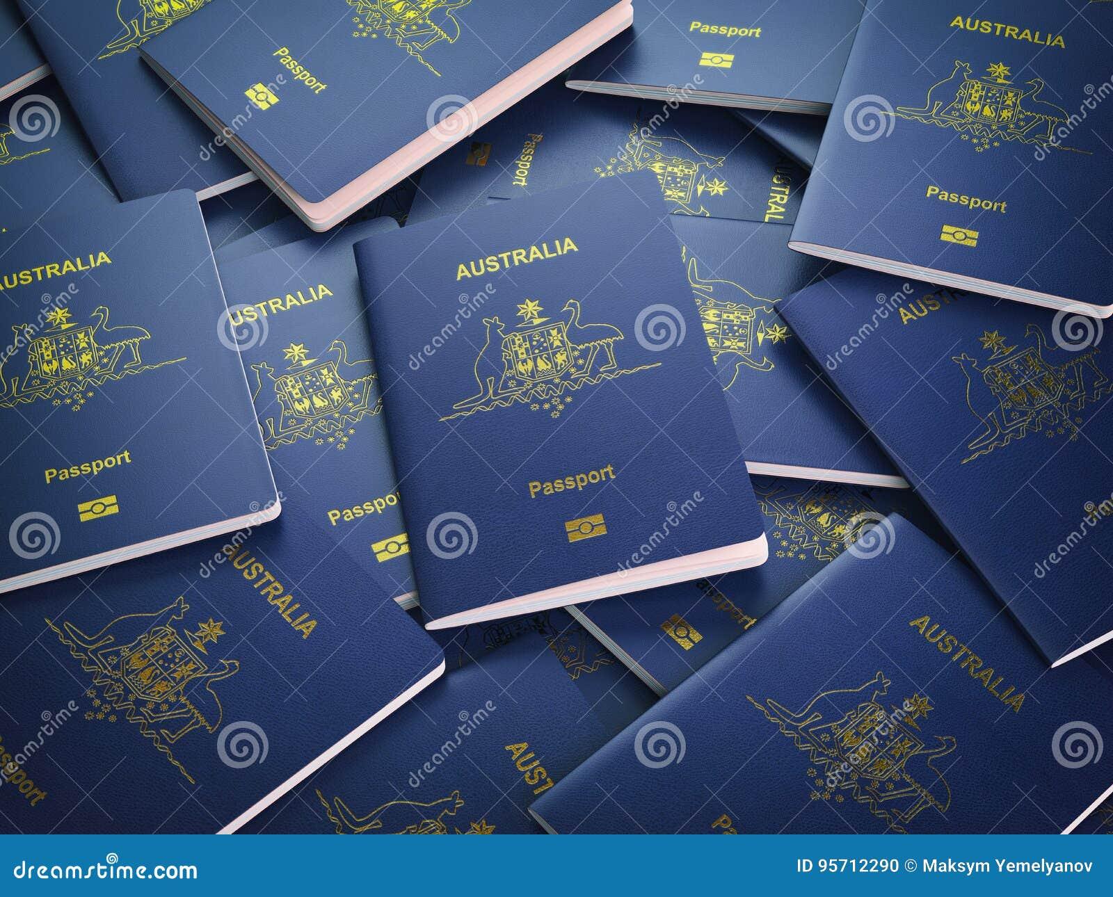 Passeports de fond d Australie Concept d immigration ou de voyage