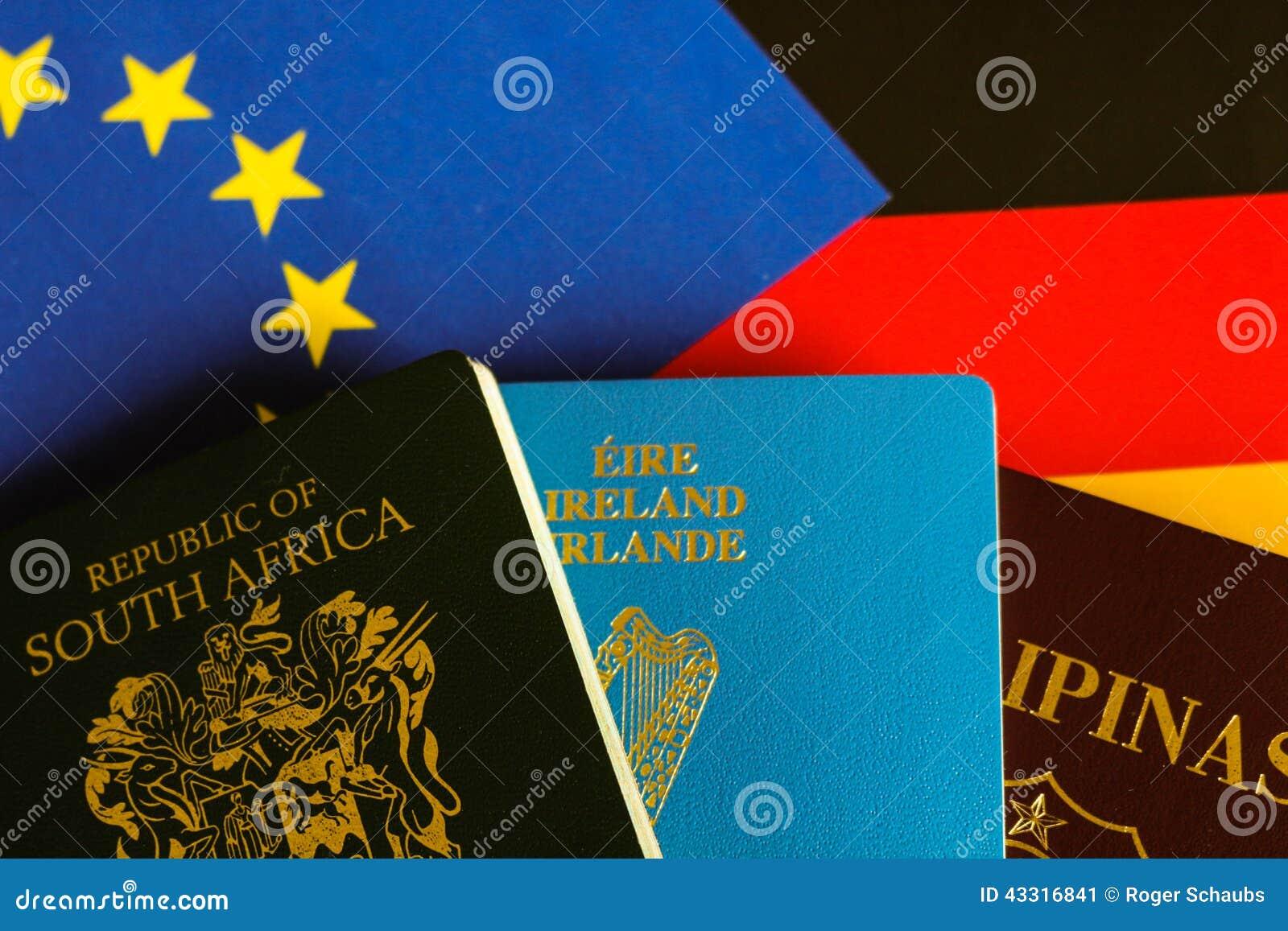 Passeports sur le drapeau européen et allemand