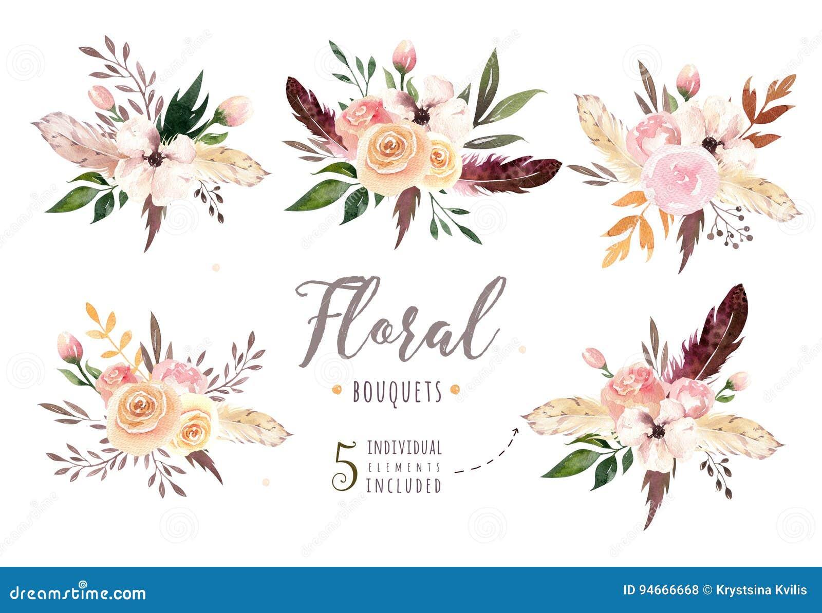 Passi ad acquerello di boho isolato disegno l illustrazione floreale con le foglie, i rami, fiori Arte della Boemia della pianta
