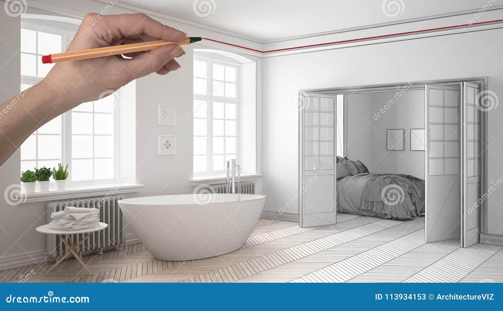 Bagno Legno Bianco : Passi a disegno il bagno bianco e di legno classico moderno su