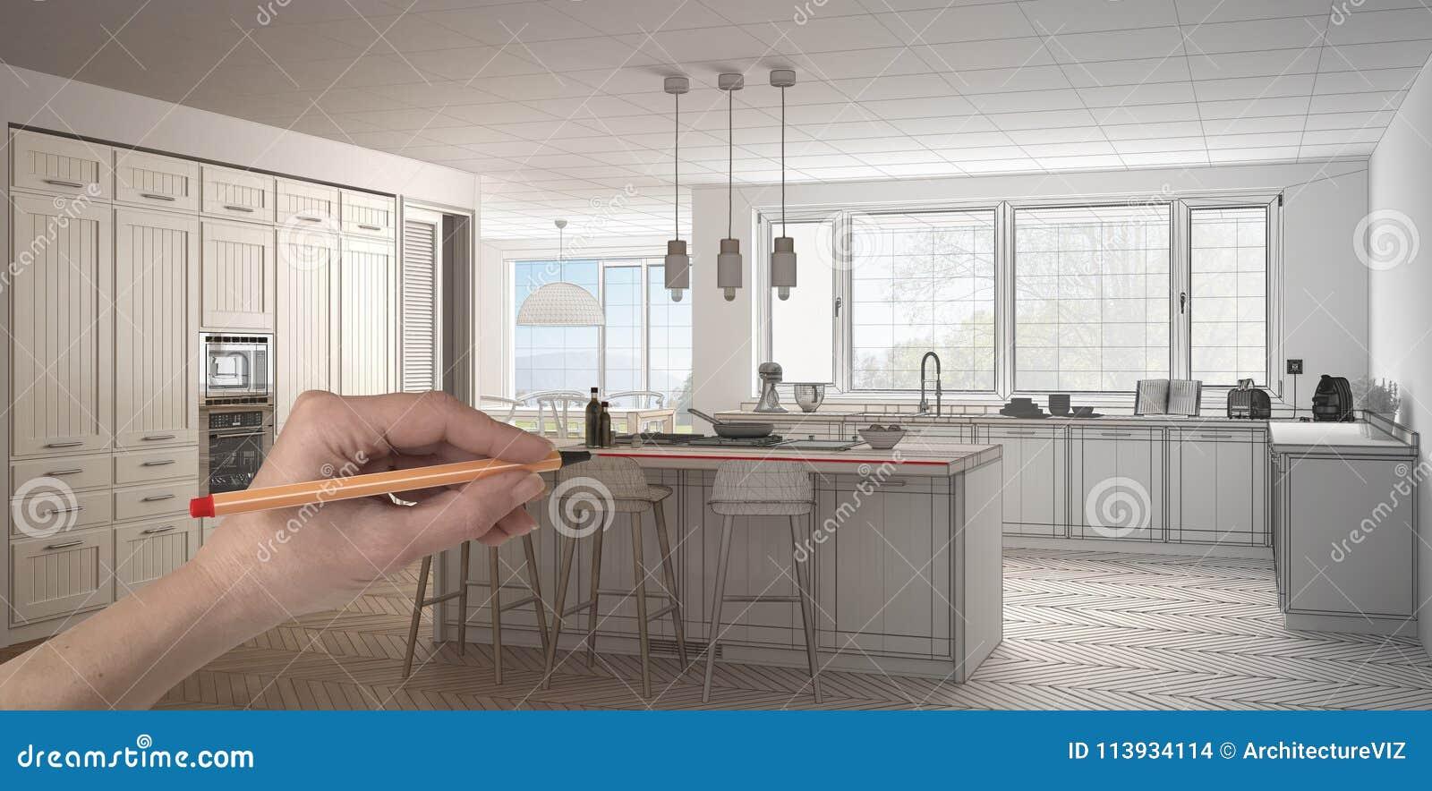 Passi A Disegno La Cucina Bianca E Di Legno Classica Su