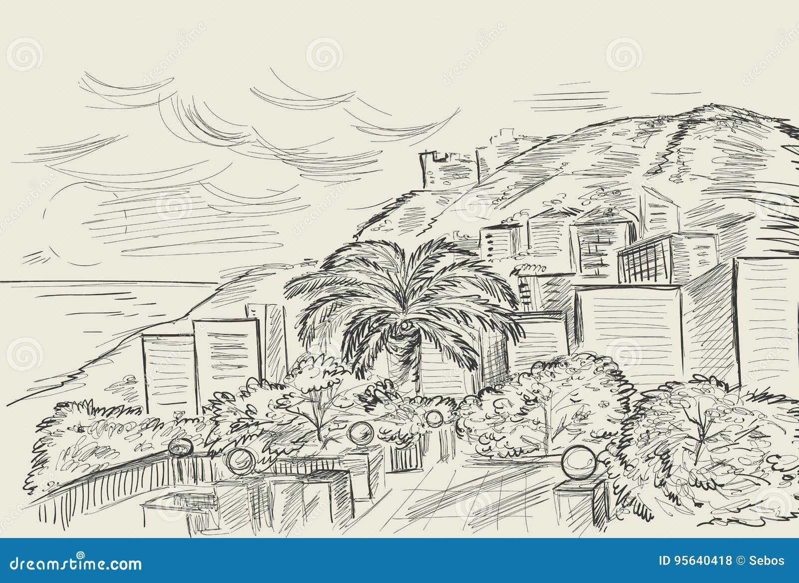 Passi il disegno di una montagna e di un paesaggio for Disegni di ville