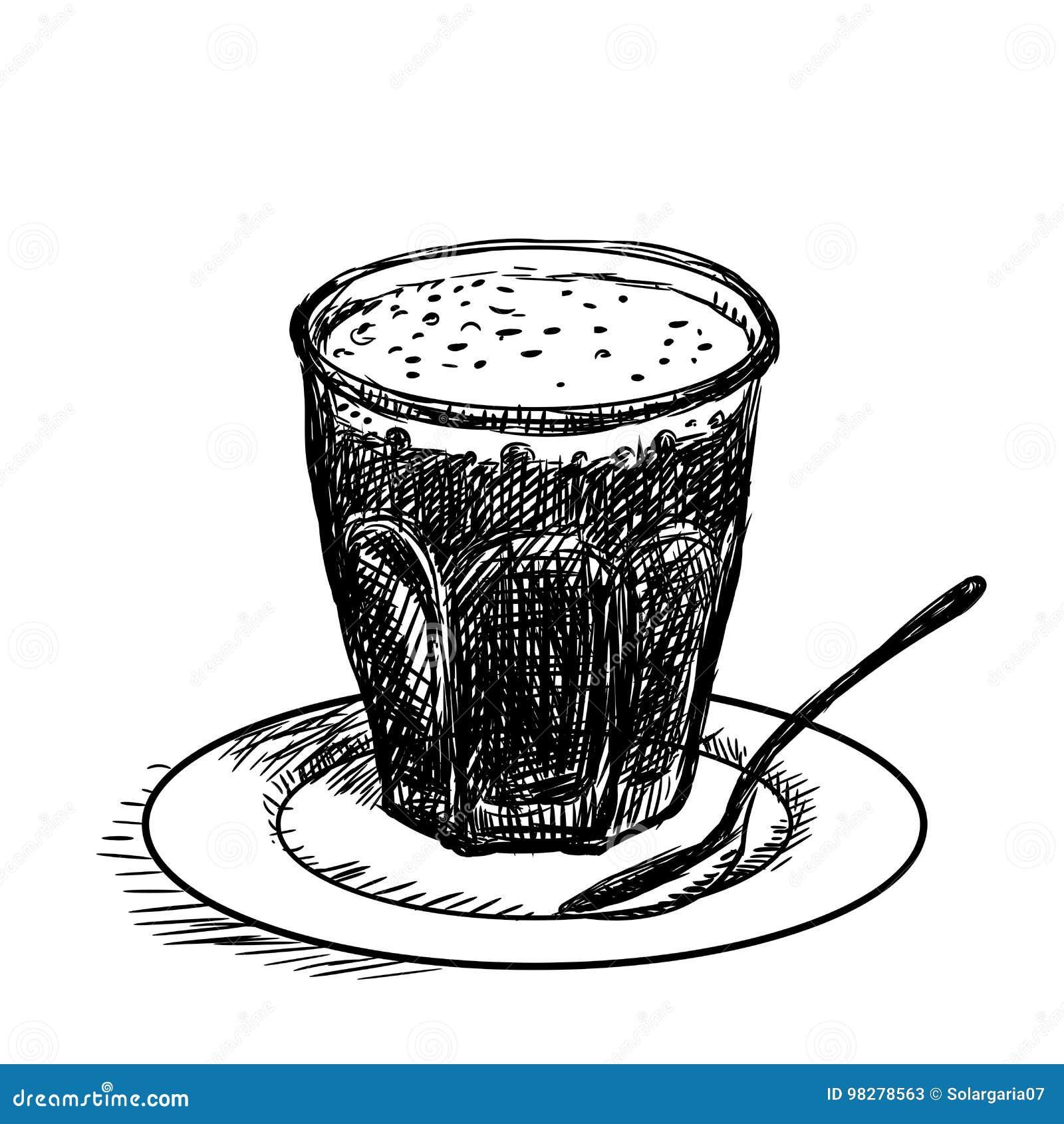 Passi Il Disegno Tazza Di Caffè Vector Lillustrazione Di Schizzo