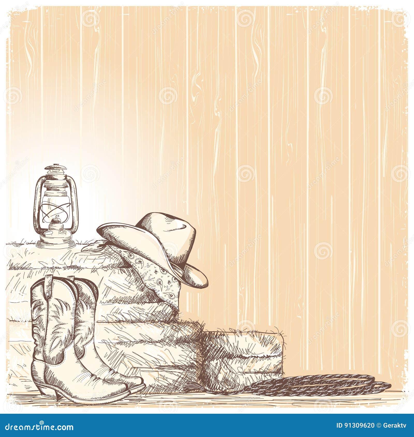 Passi Il Fondo Del Cowboy Di Tiraggio Con Gli Stivali Occidentali Ed