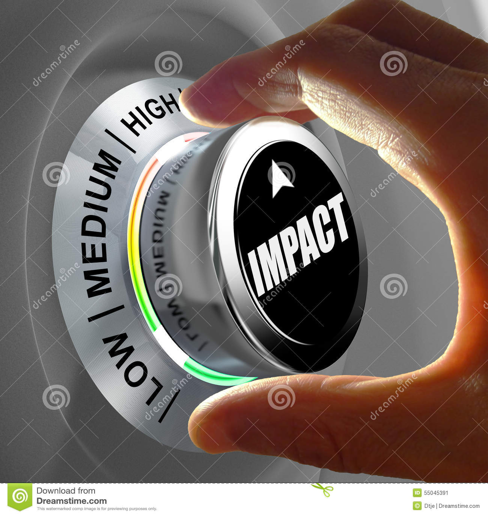 Passi la rotazione del bottone e la selezione del livello di impatto