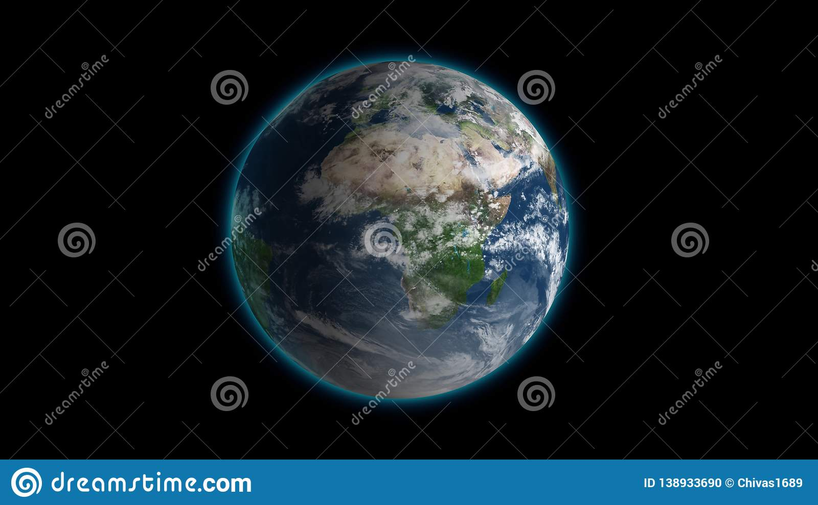 Passing by beautiful rotating planet Earth and slowly moving away with stars in space. Full HD footage . Elements of