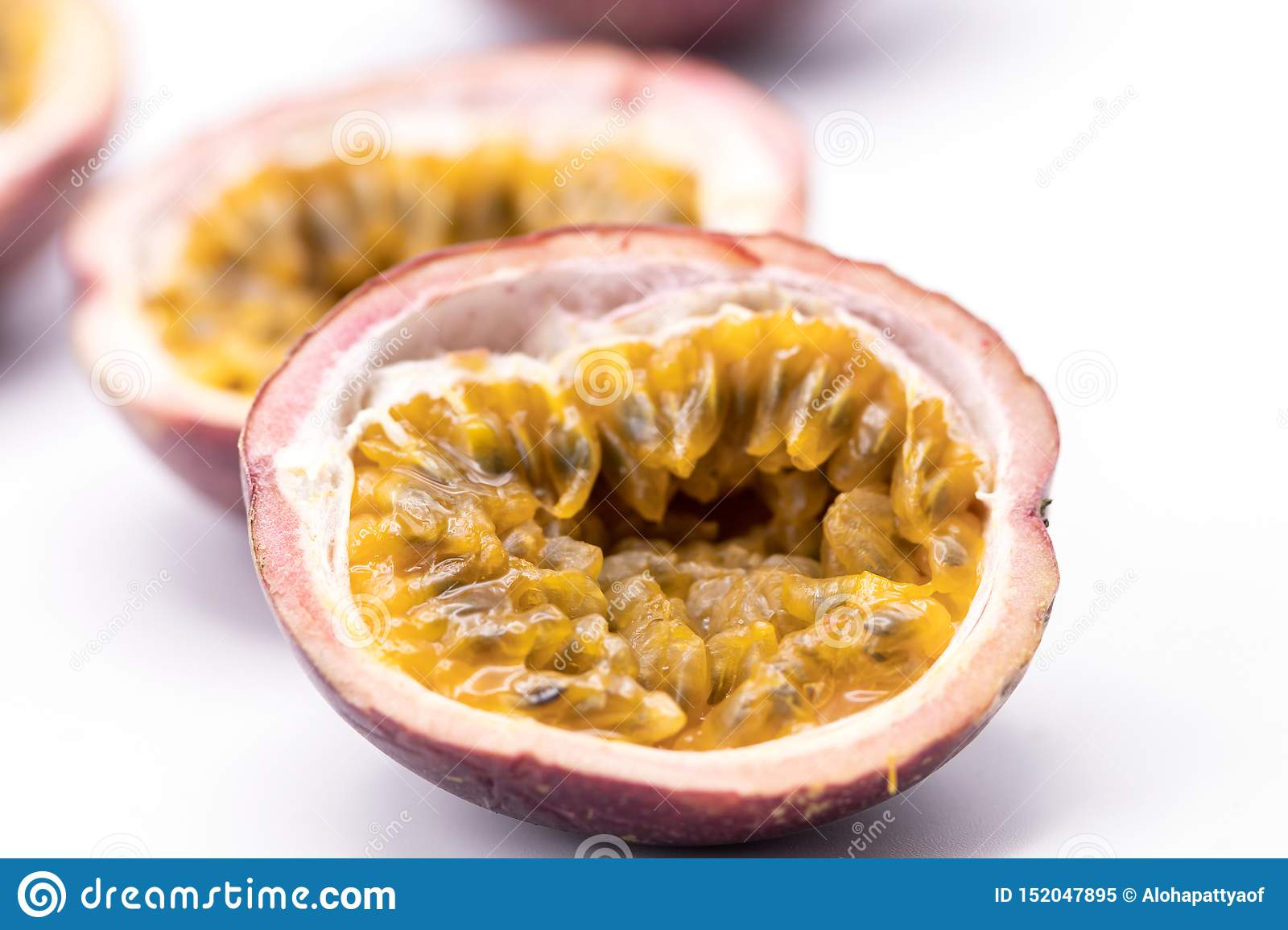Passion fruits isolate on white background.Passion fruit is a flowering tropical vine.