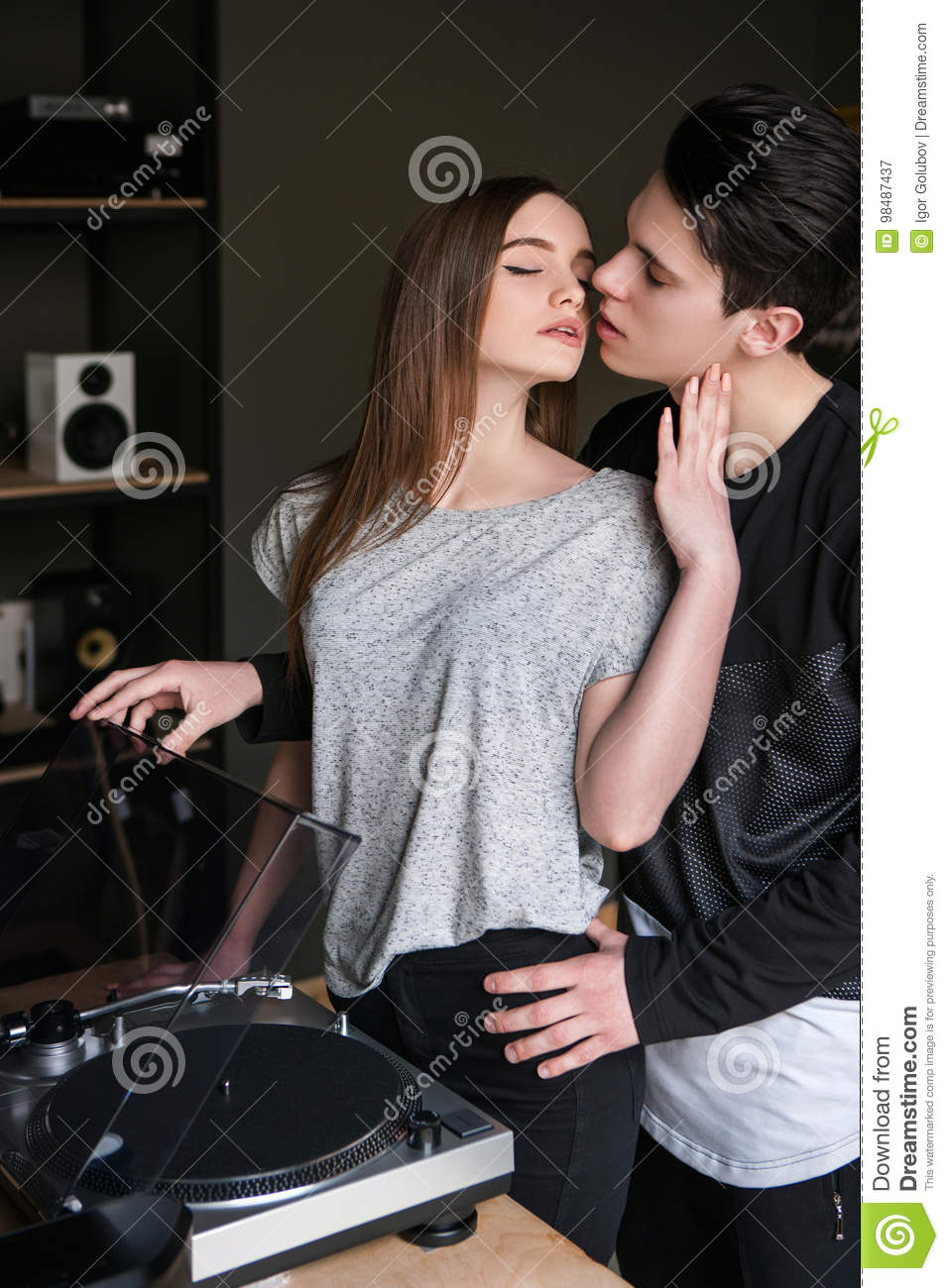 Passion in inappropriate place. Seductive couple