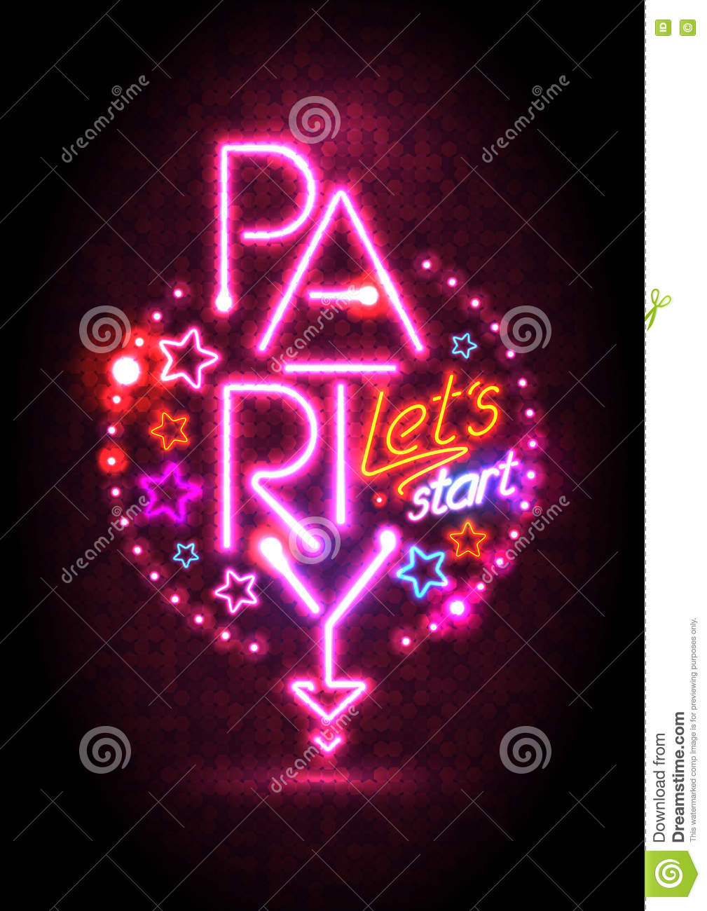 passion pink neon lights party design stock vector illustration of