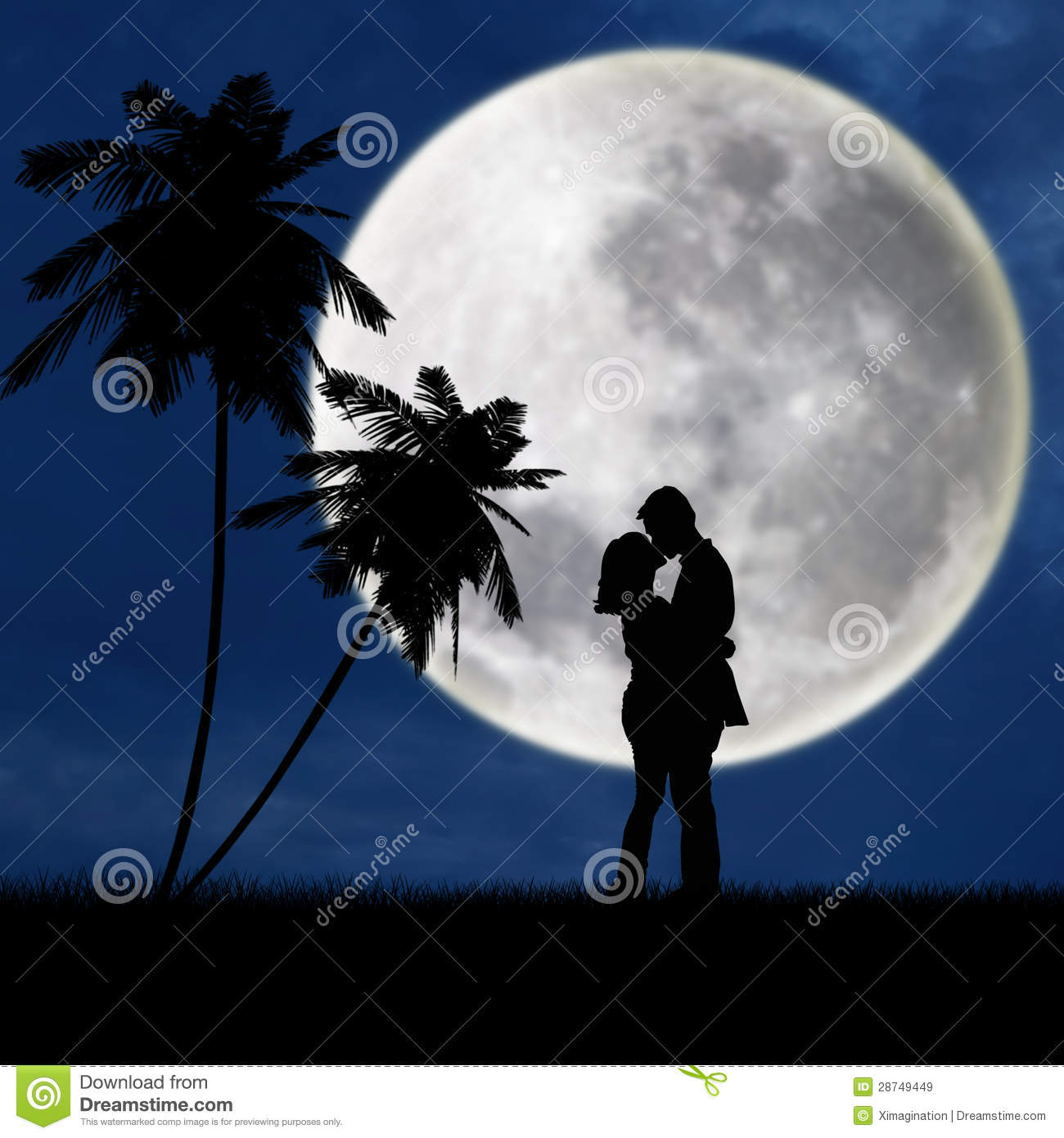 Passionate Couple Silhouette At Beach Stock Illustration