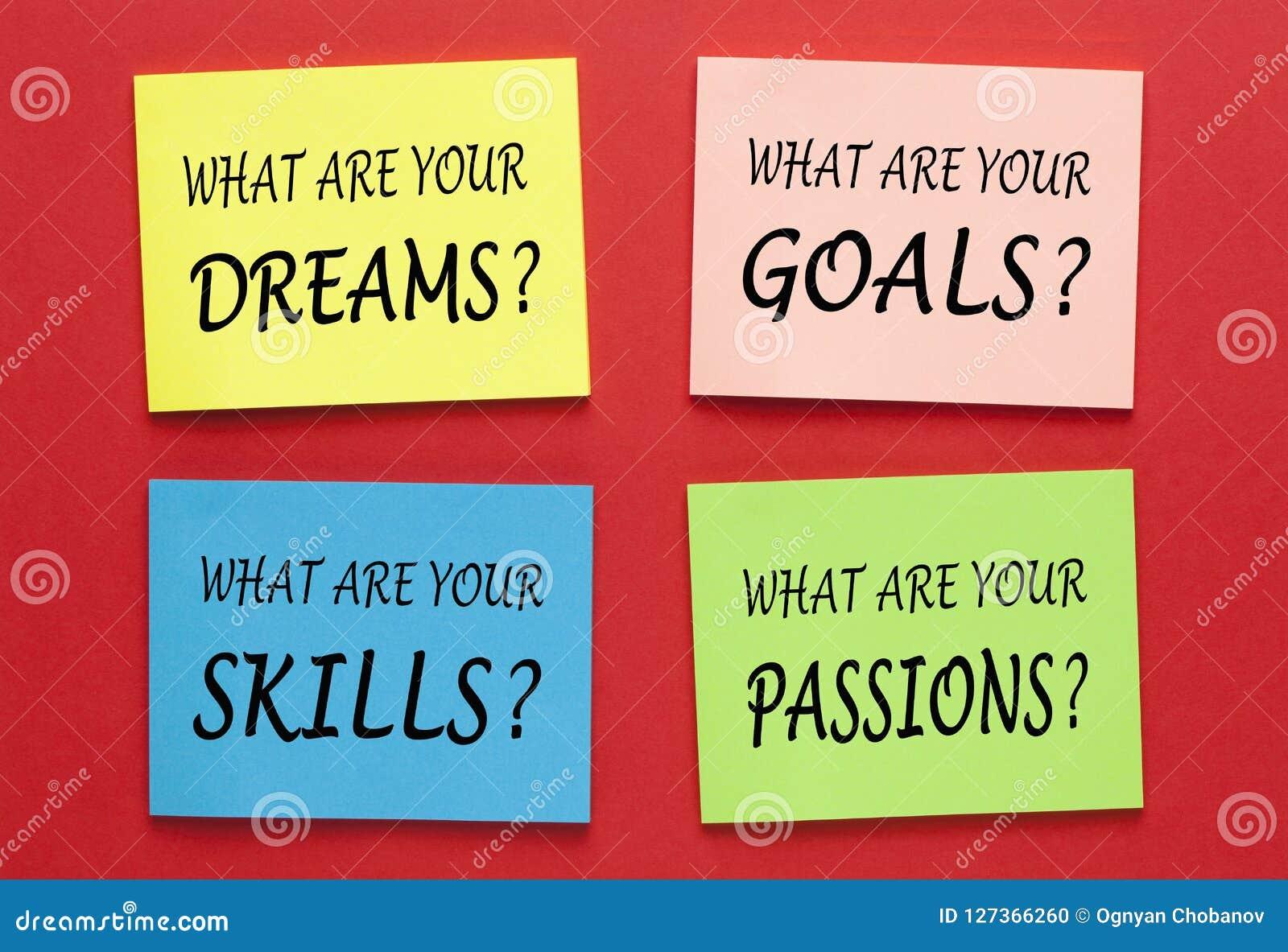 Passioni di abilità di scopi di sogni