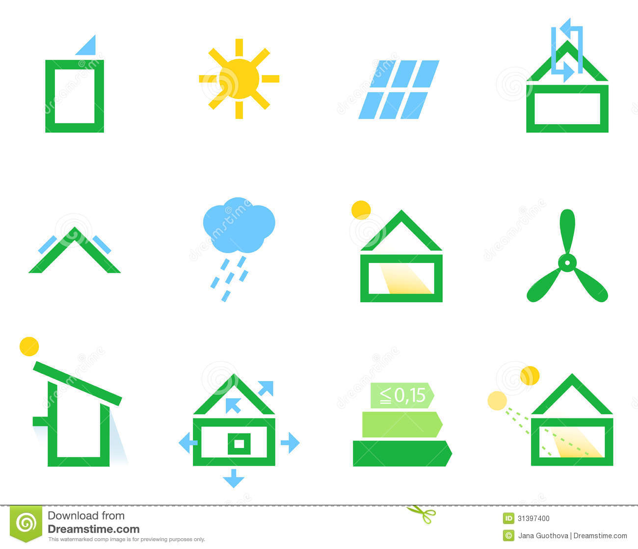 Passive house icons stock photo image 31397400 - Passive houses in germany energy and financial efficiency ...