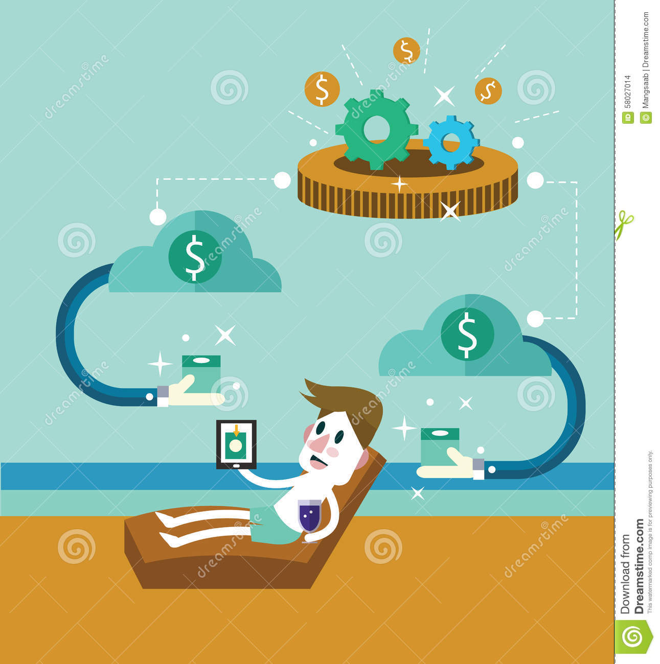 Passive Income Businessman At The Beach Receive Money