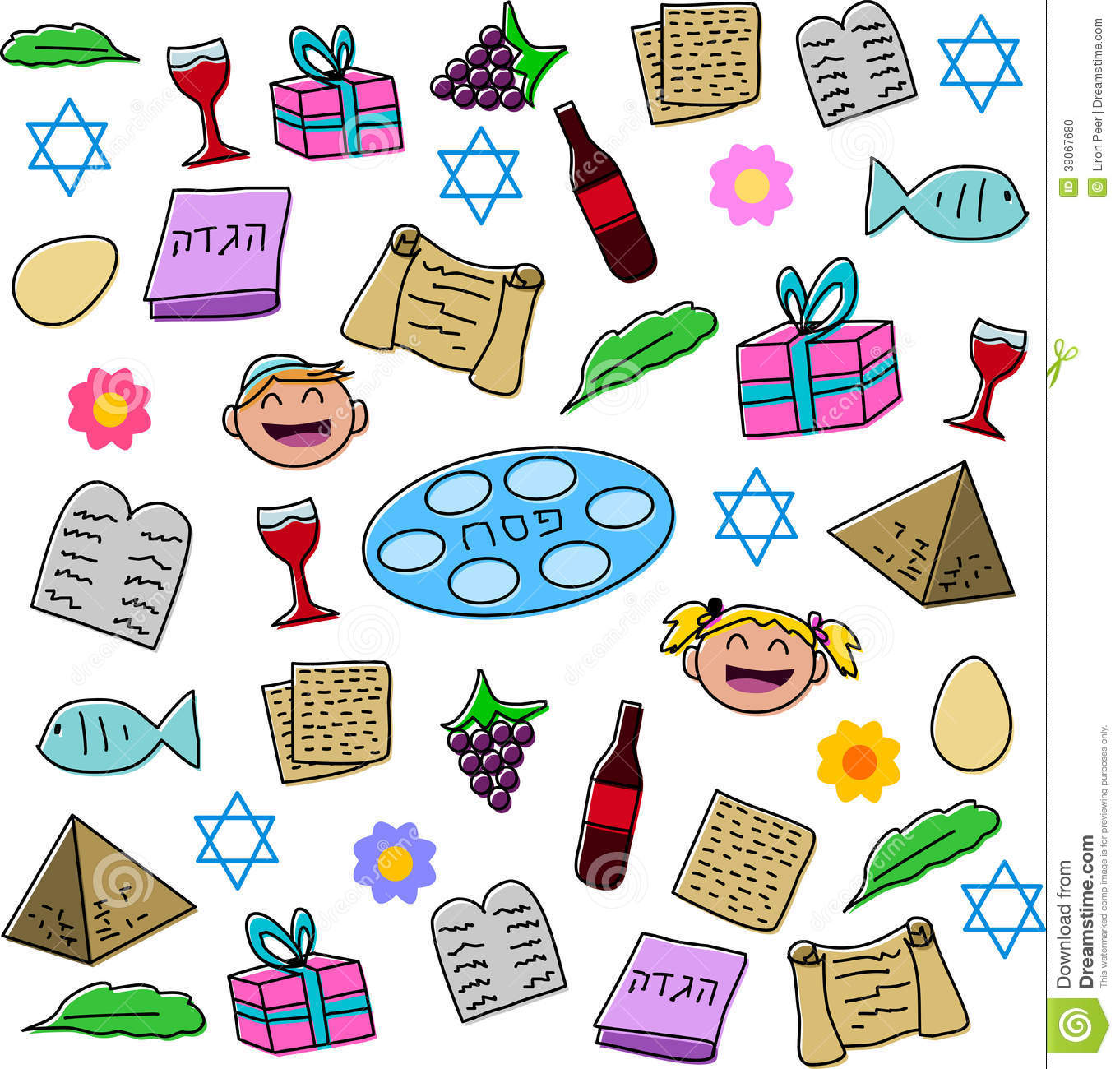 Passover Holiday Symbols Pack Stock Vector Image 39067680
