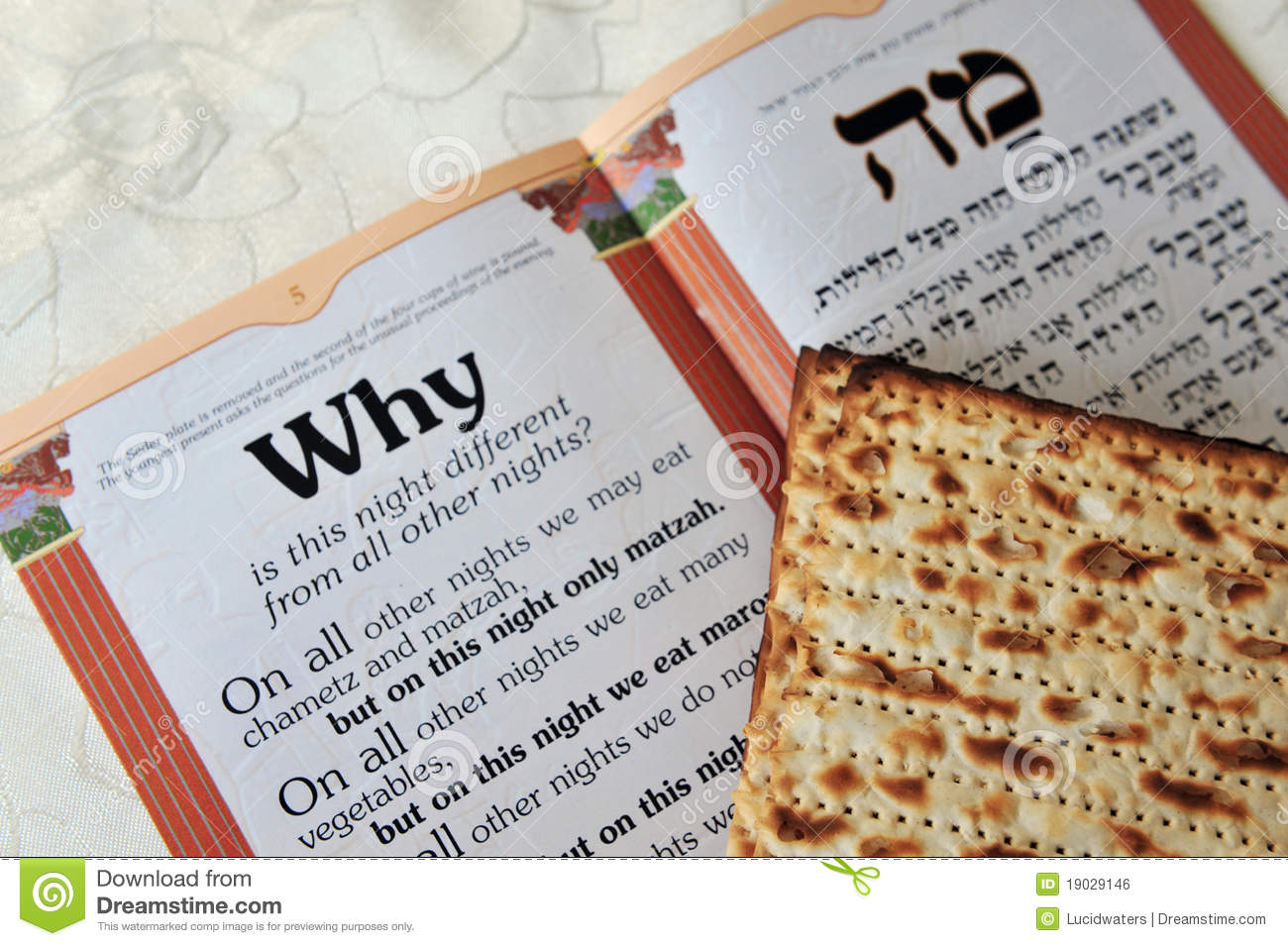 Traditional Jewish Matzo sheets on a Passover Seder table. Passover is ...