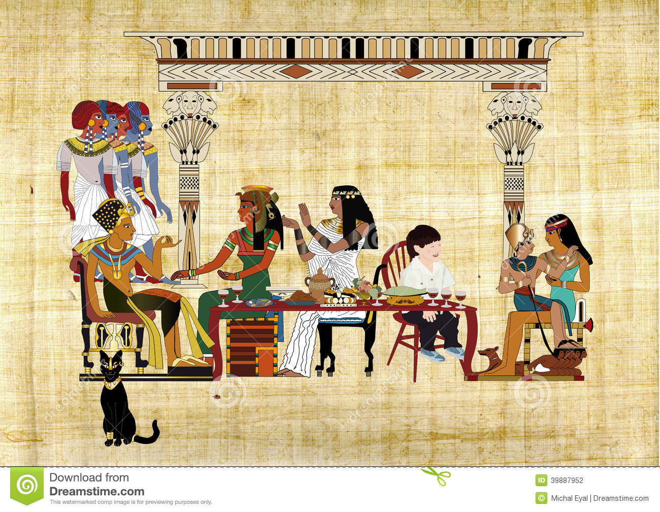 Passover Seder With Pharaoh Stock Illustration - Image 39887952