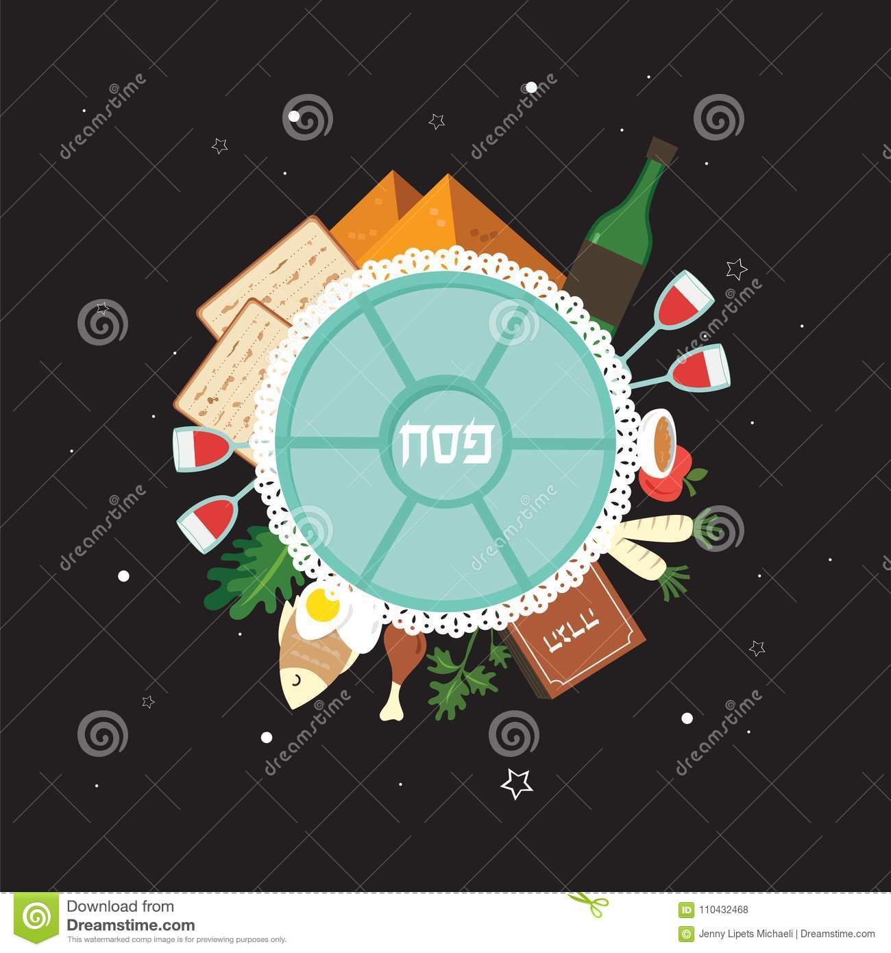 Passover seder plate with flat traditional icons over night passover seder plate with flat traditional icons over night background passover in hebrew greeting card design template m4hsunfo