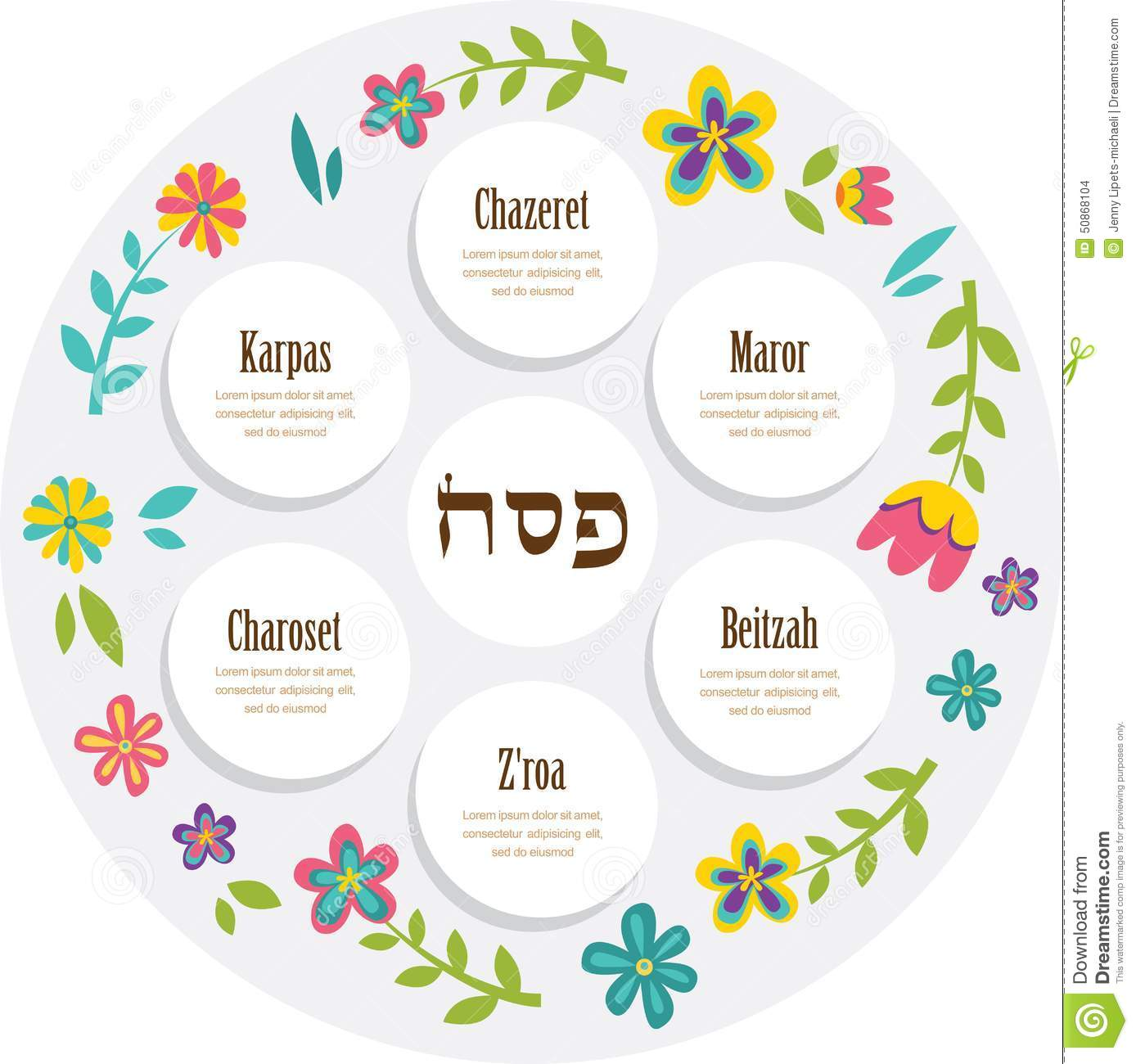 Passover Seder Plate With Floral Decoration Stock Vector
