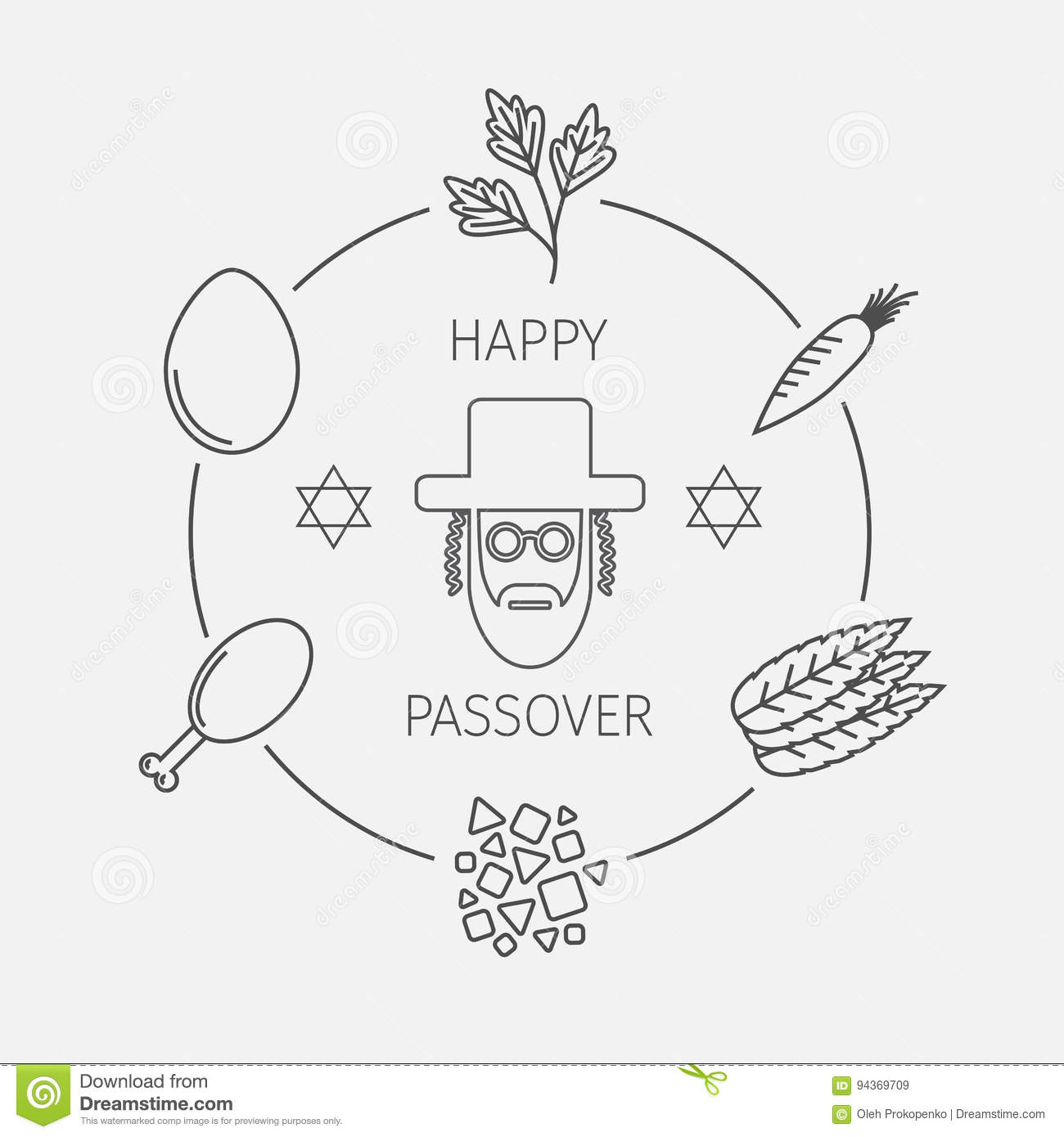 Passover seder plate with line icons vector stock vector passover seder plate with line icons vector buycottarizona