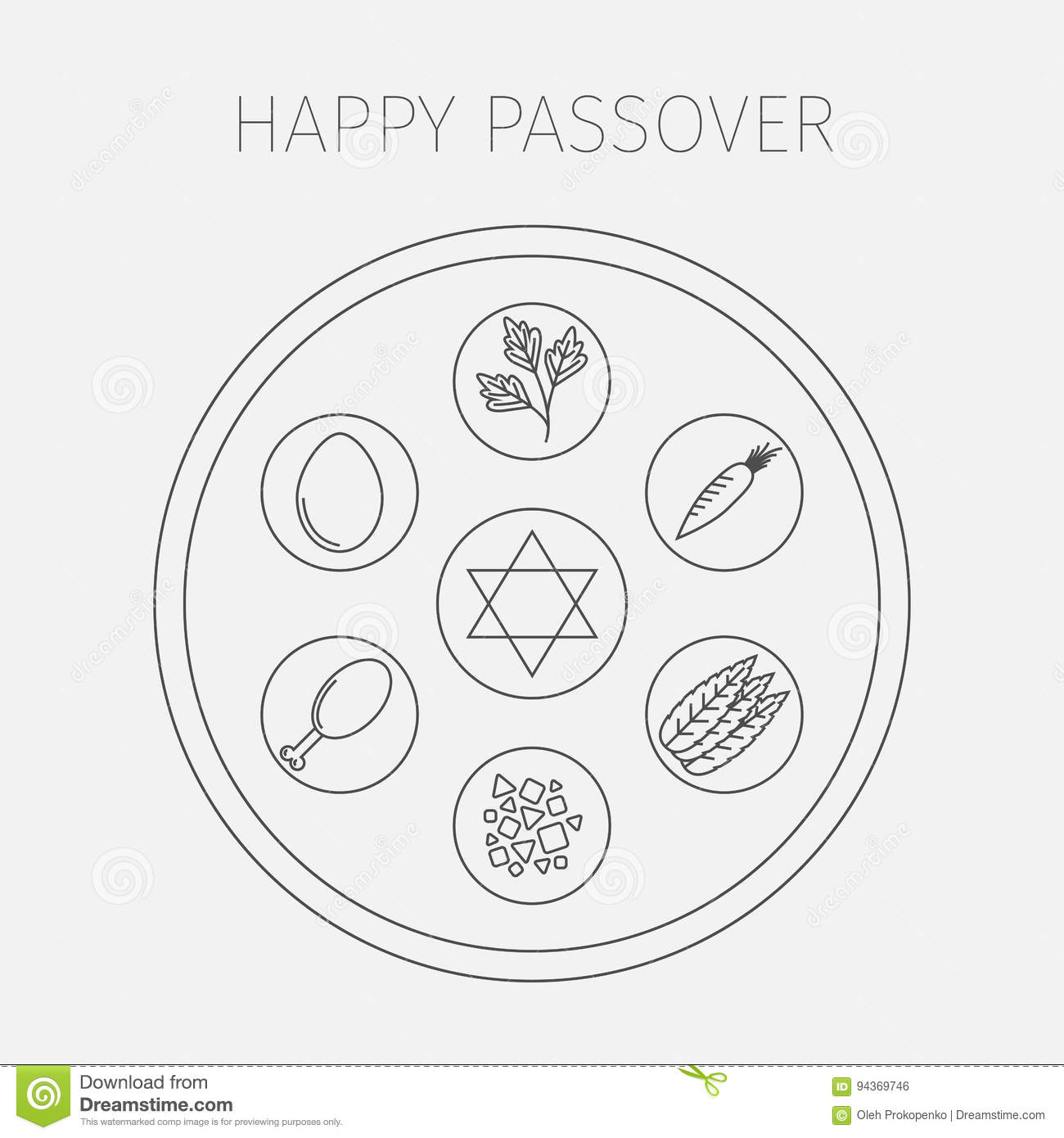 Passover Seder Plate With Line Icons Vector Stock Vector