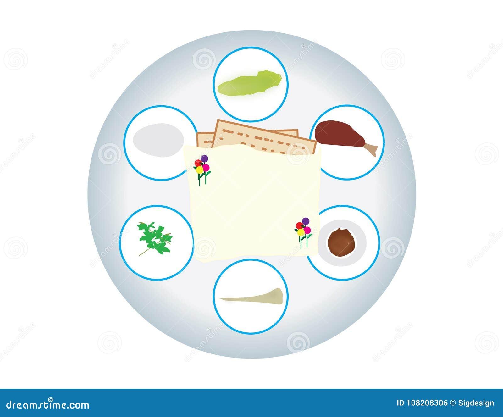 Passover Seder Plate On White Background Stock Vector Illustration