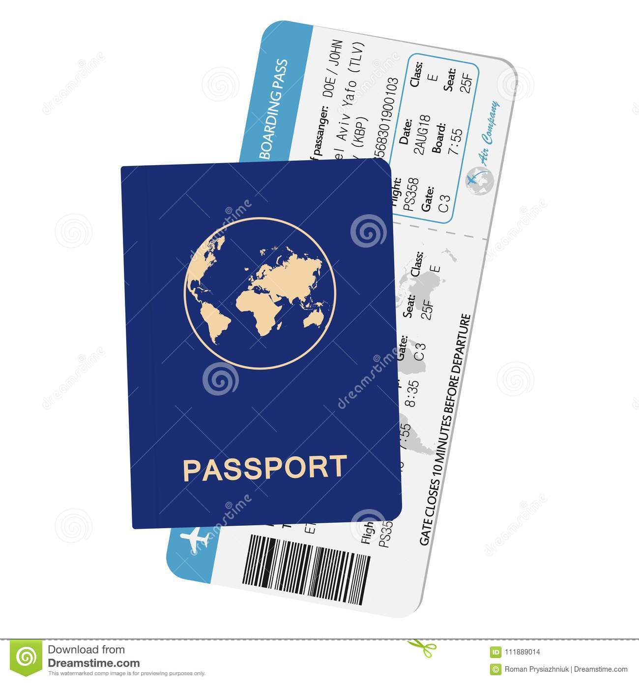 Passport and airline boarding pass. ID document with airplane ticket. Travel concept illustration.