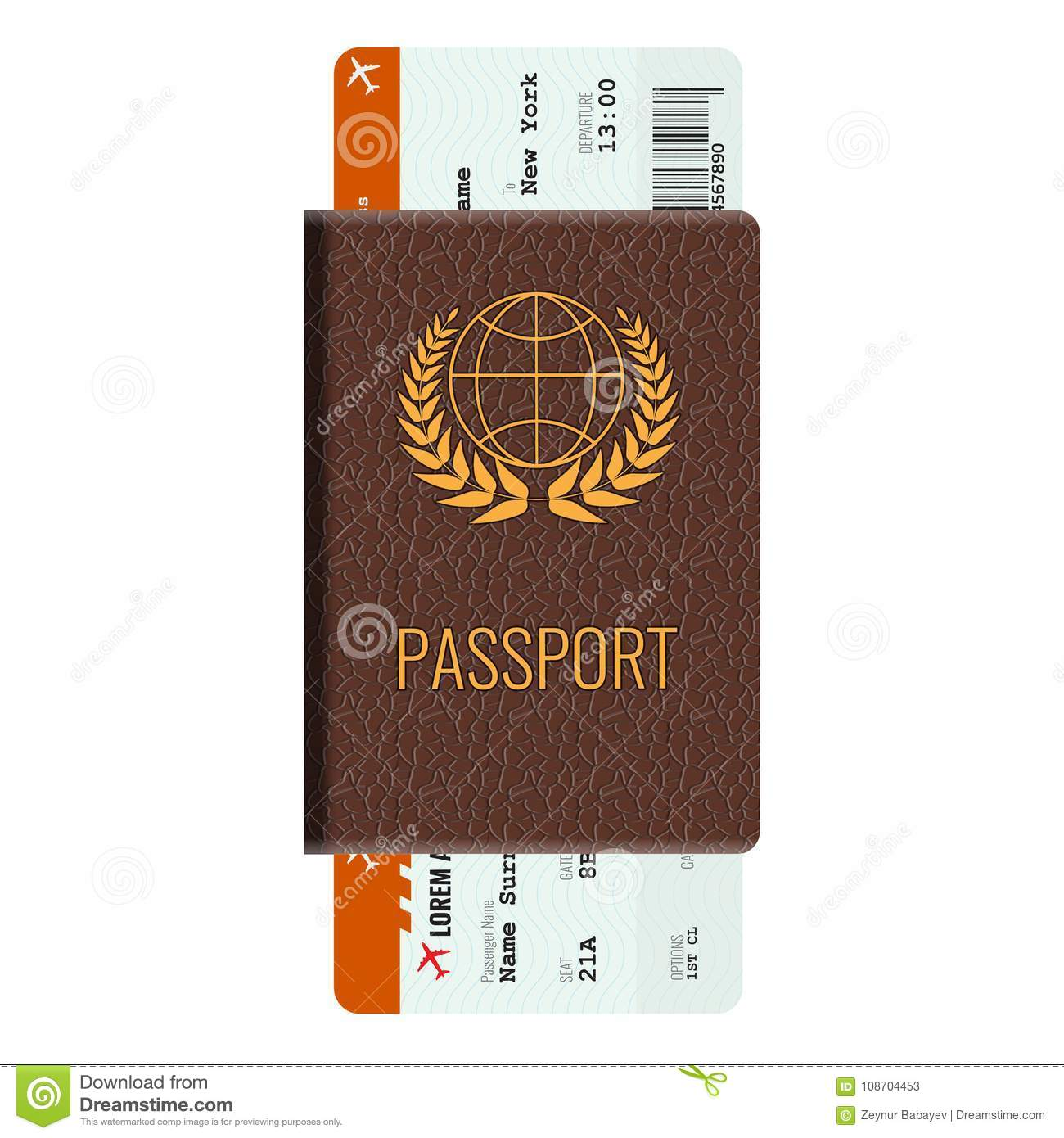 Illustrated Book Cover Vector ~ Passport and airline passenger ticket mockup stock vector