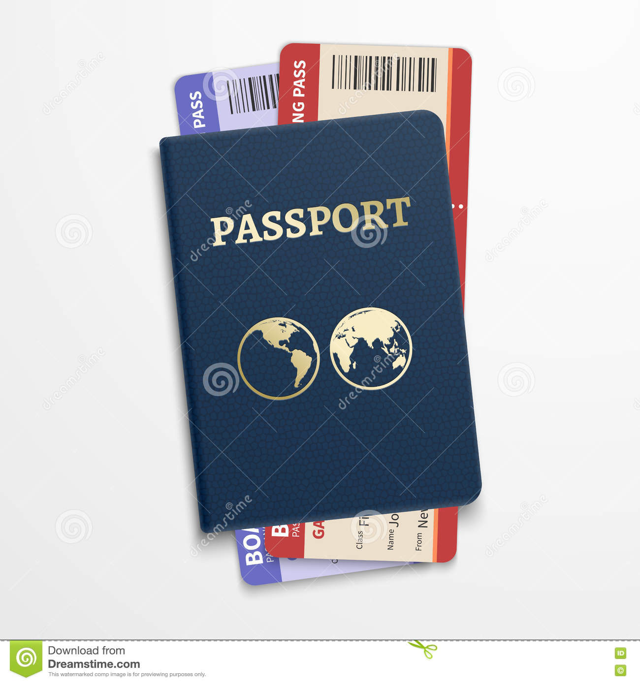 Passport with airline tickets. International tourism travelling concept